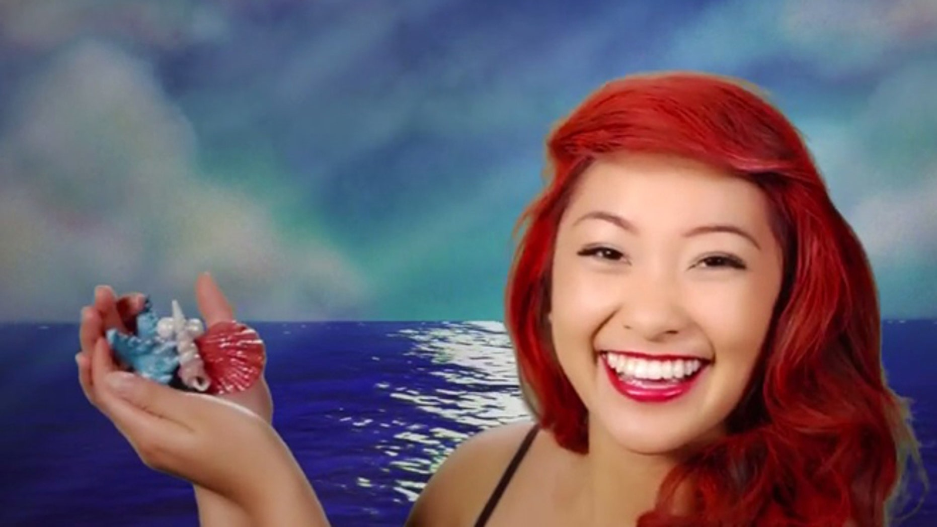 """Ariel in an instant! A model is transformed into the """"Under the Sea"""" princess."""
