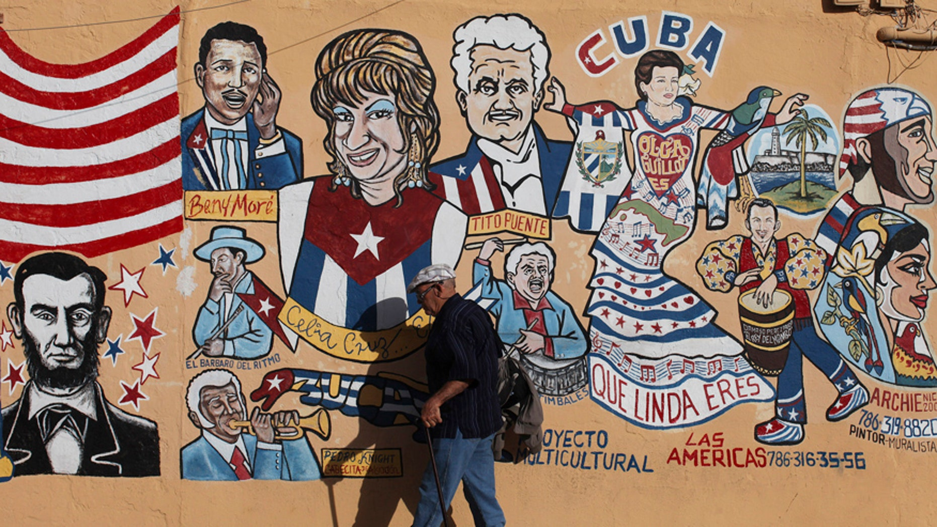 A man walks by a mural in the Little Havana neighborhood of Miami, Florida January 26, 2012. Florida Republicans will go to the polls on January 31 to choose among the party's candidates hoping to challenge President Barack Obama in the November general election. Hispanics and non-Hispanic blacks each make up about 13 percent of Florida's registered voters, while non-Hispanic whites account for 68 percent.  REUTERS/Shannon Stapleton (UNITED STATES - Tags: POLITICS ELECTIONS SOCIETY) - RTR2WX03