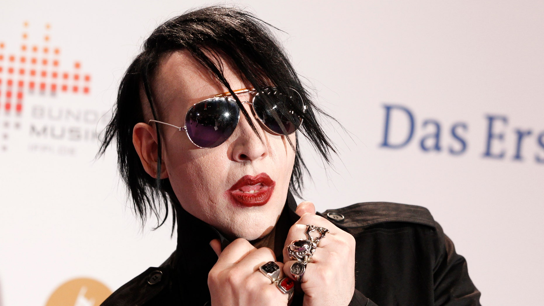 Singer Marilyn Manson arrives on the red carpet for the Echo Music Awards ceremony in Berlin March 22, 2012.
