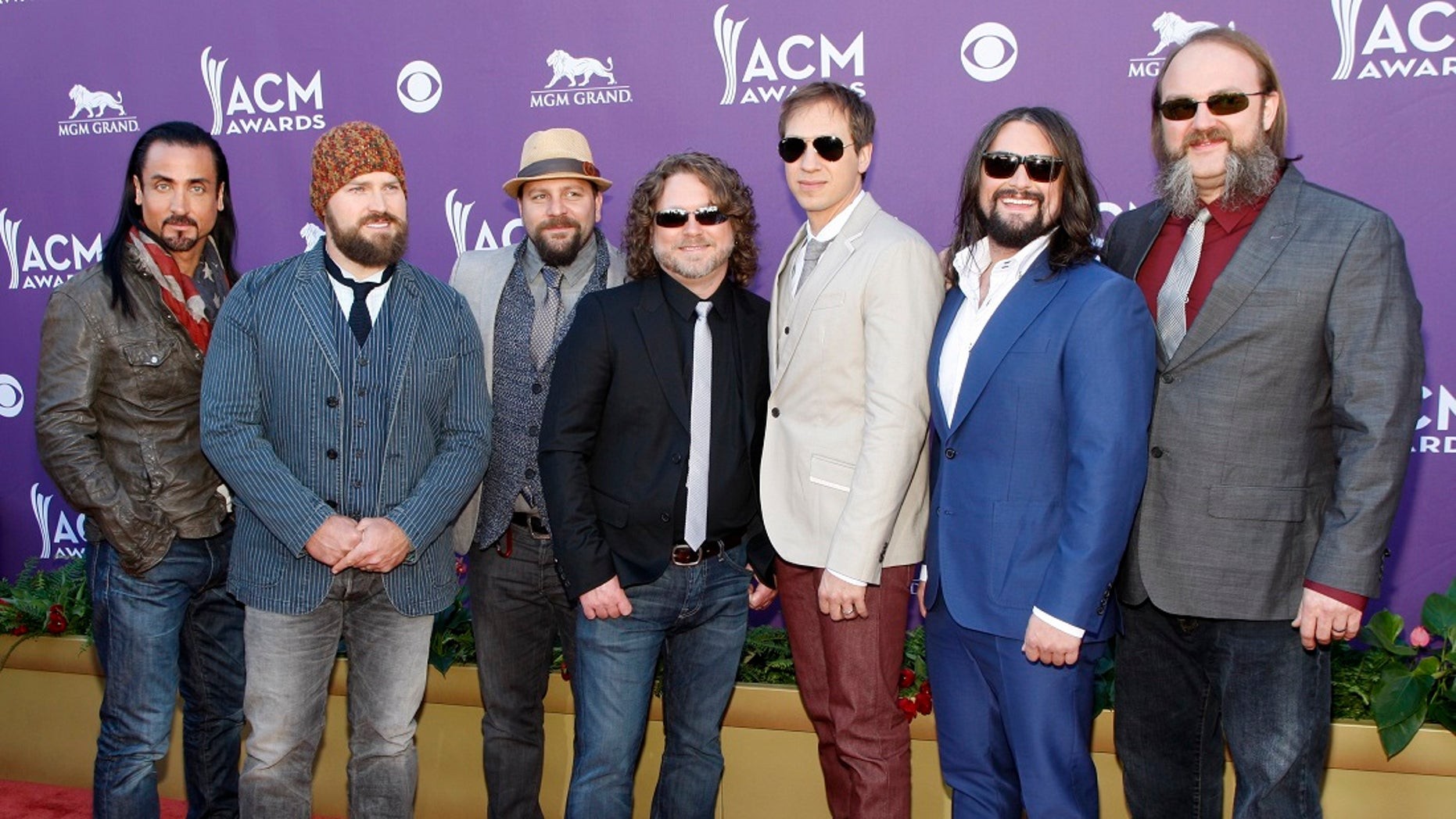 The Zac Brown Band arrives at the 47th annual Academy of Country Music Awards in Las Vegas, Nevada, April 1, 2012.   REUTERS/Richard Brian (UNITED STATES  - Tags: ENTERTAINMENT)  (ACM-ARRIVALS) - RTR307ZE