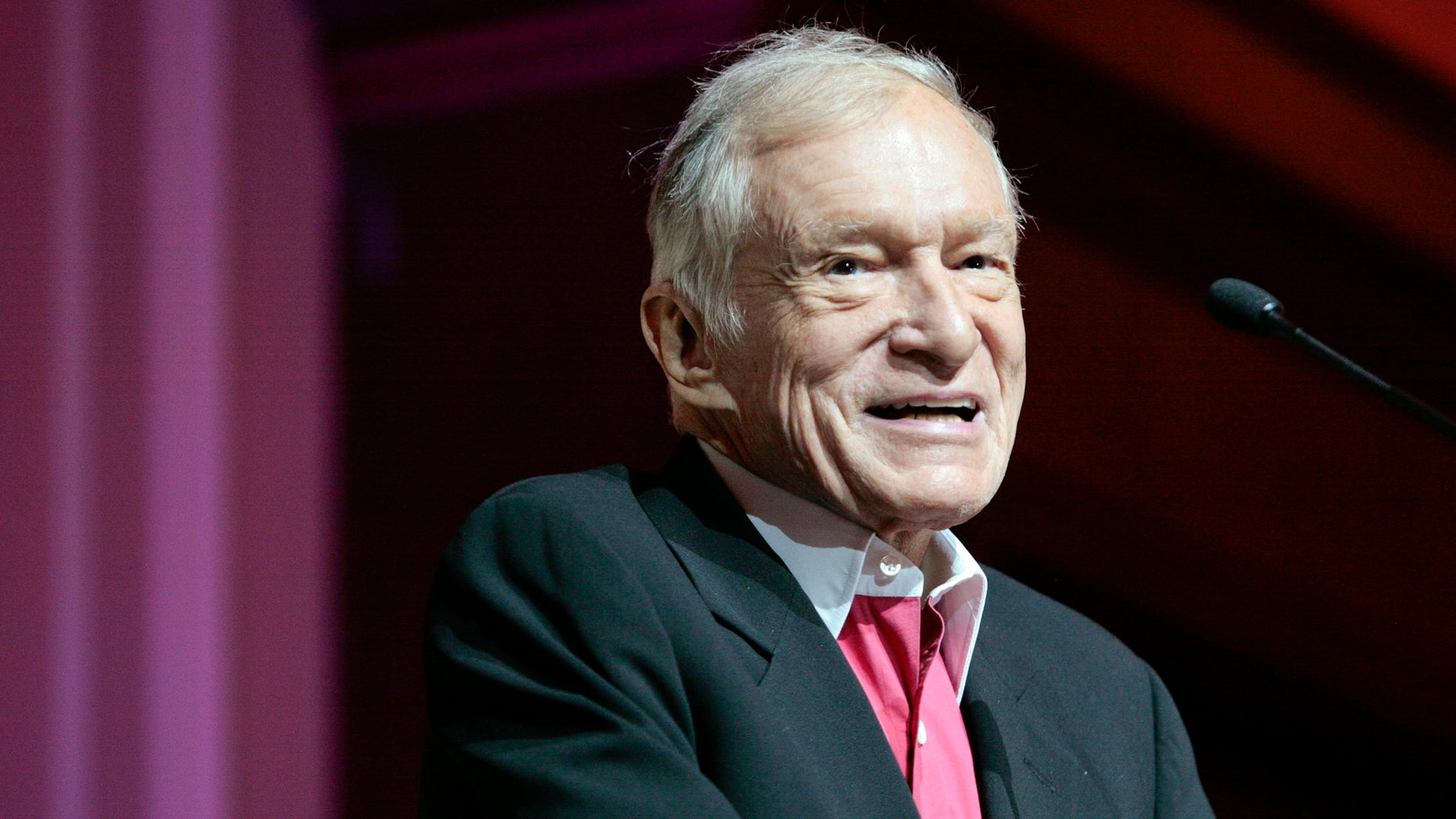 Hugh Hefner, founder, editor-in-chief and creative officer of Playboy, speaks as he is honored with the Hollywood Distinguished Service Award in Memory of Johnny Grant by the Hollywood Chamber of Commerce in Hollywood, California June 7, 2012.