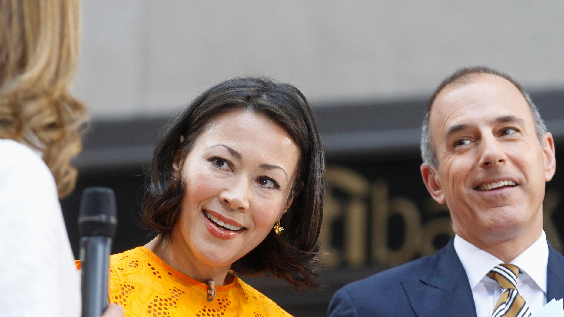 """Former """"Today"""" host Ann Curry and current """"Today"""" host Matt Lauer appear on set during the show in New York June 22, 2012"""