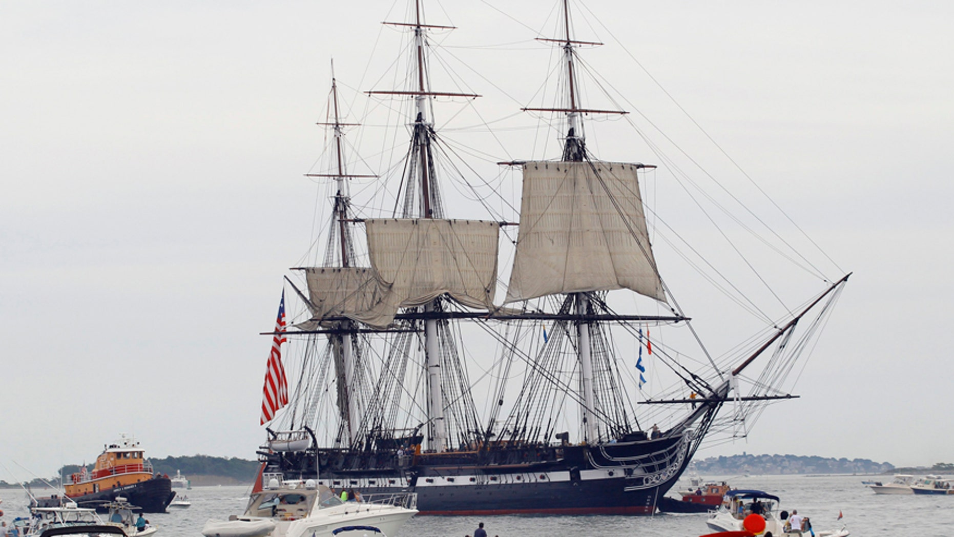The USS Constitution setting sail in 2012.