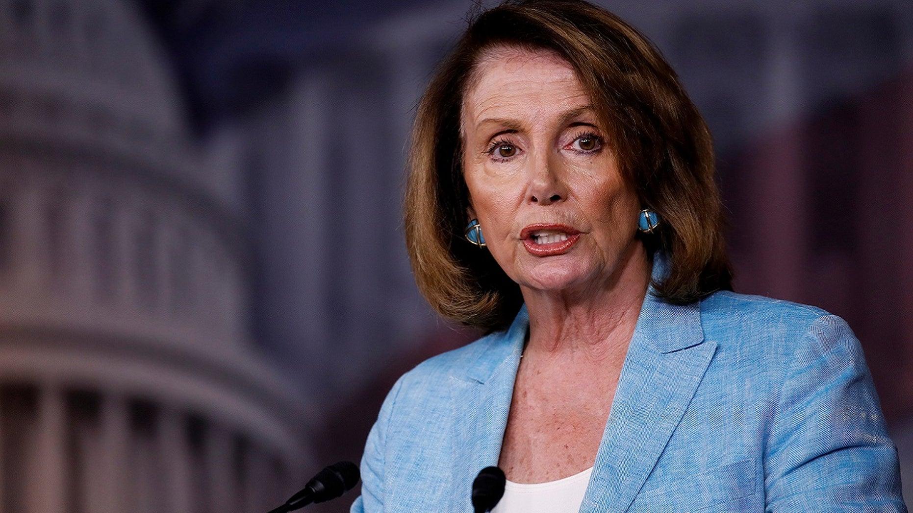 House Minority Leader Nancy Pelosi addresses reporters in Washington, June 15, 2017.