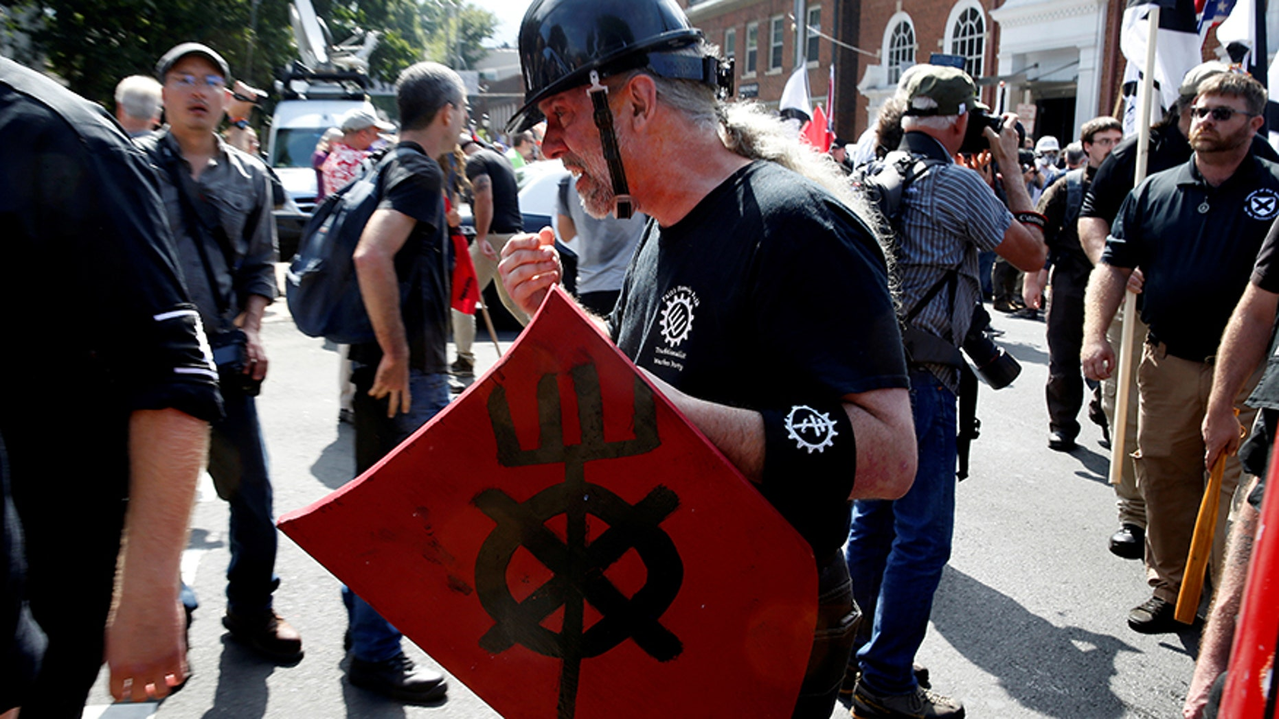 The use of homemade shields like this one could be banned from protests in Los Angeles.