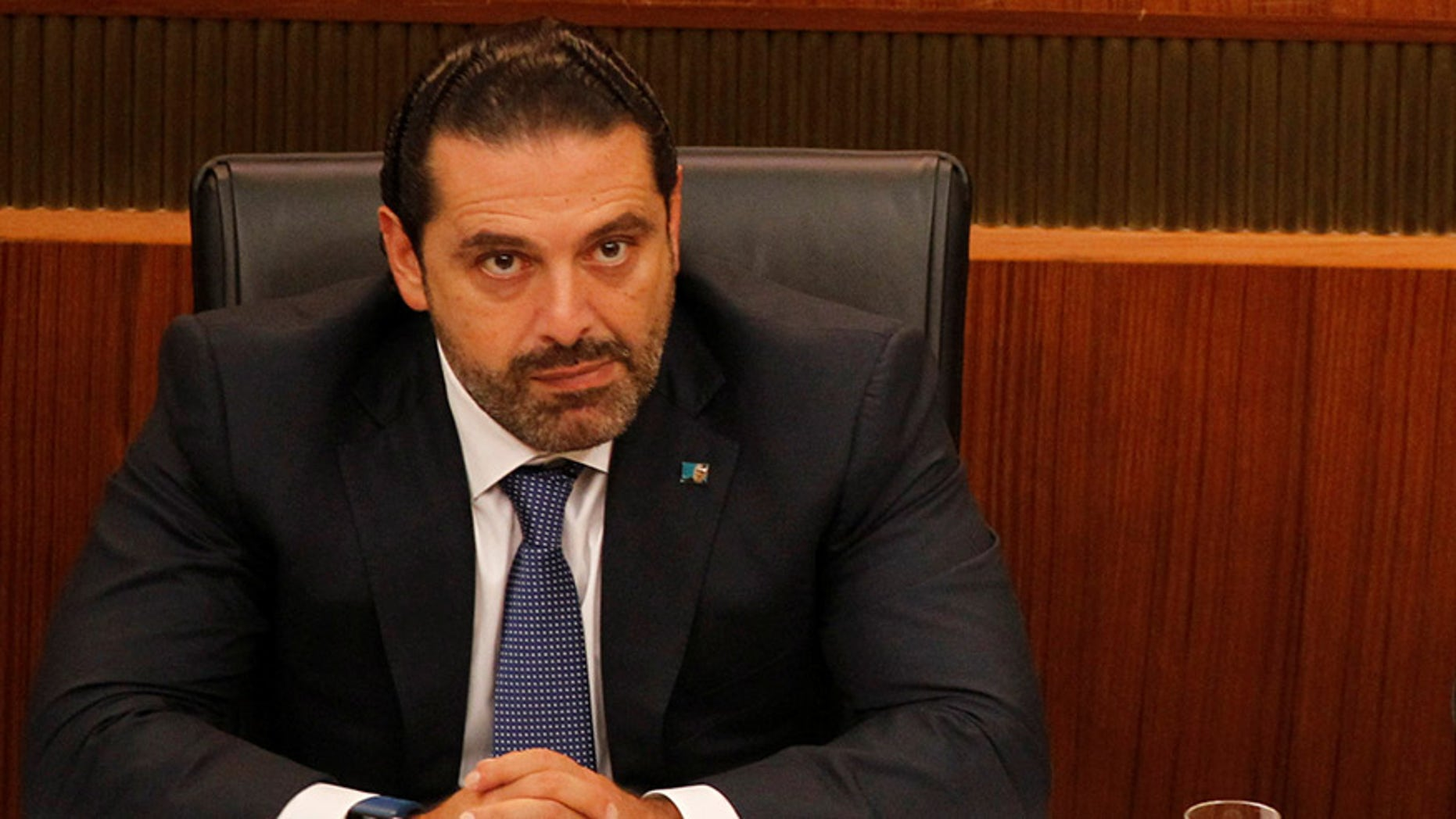 """Lebanese prime minister Saad Hariri slammed Iran and the Lebanese Hezbollah group for meddling in Arab affairs and says """"Iran's arms in the region will be cut off."""""""