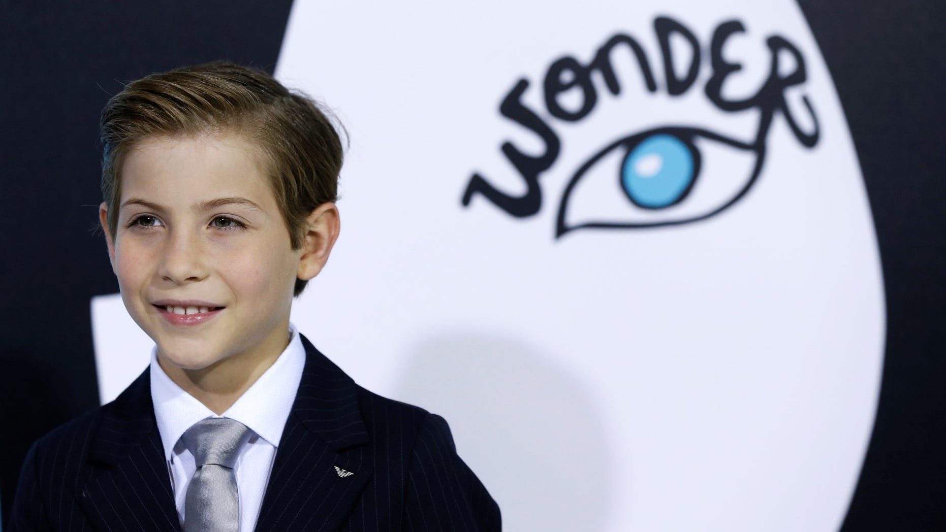 """Cast member Jacob Tremblay poses at the premiere for """"Wonder"""" in Los Angeles, California, U.S., November 14, 2017."""