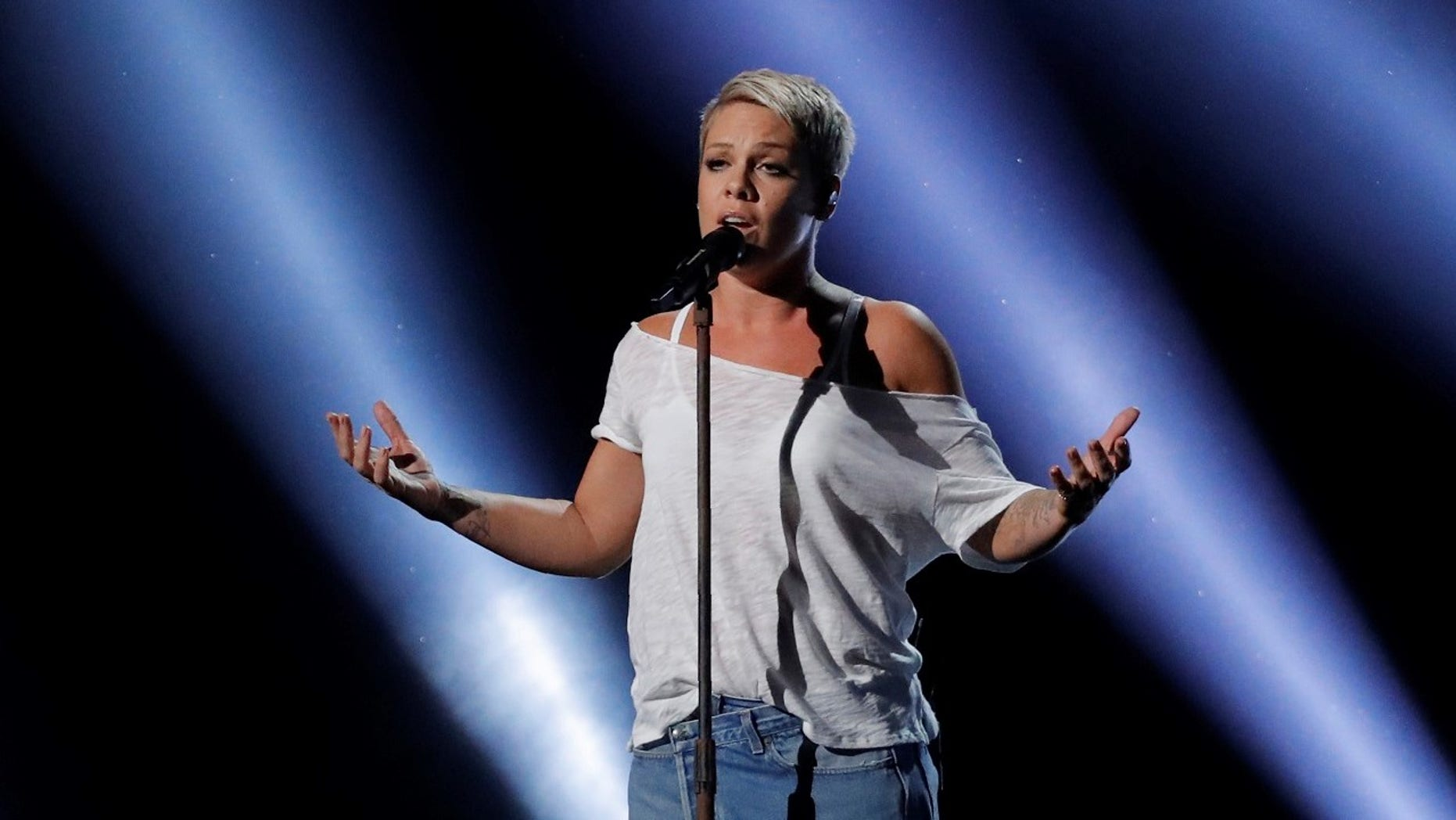 """Pink criticized Grammys President Neil Portnow who said women needed to """"step up"""" in order to be more recognized."""