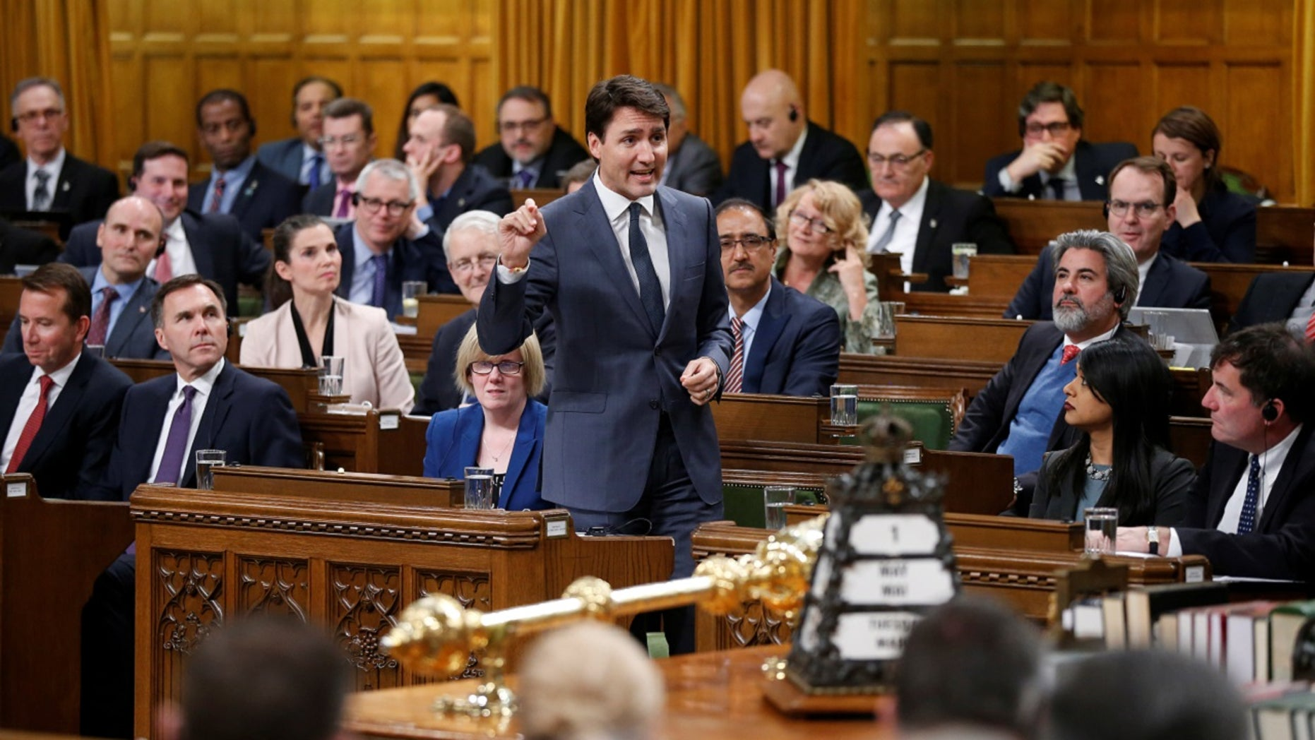 Canada's Prime Minister Justin Trudeau speaks during Question Period in the House of Commons on Parliament Hill in Ottawa, Ontario, Canada, May 1, 2018.