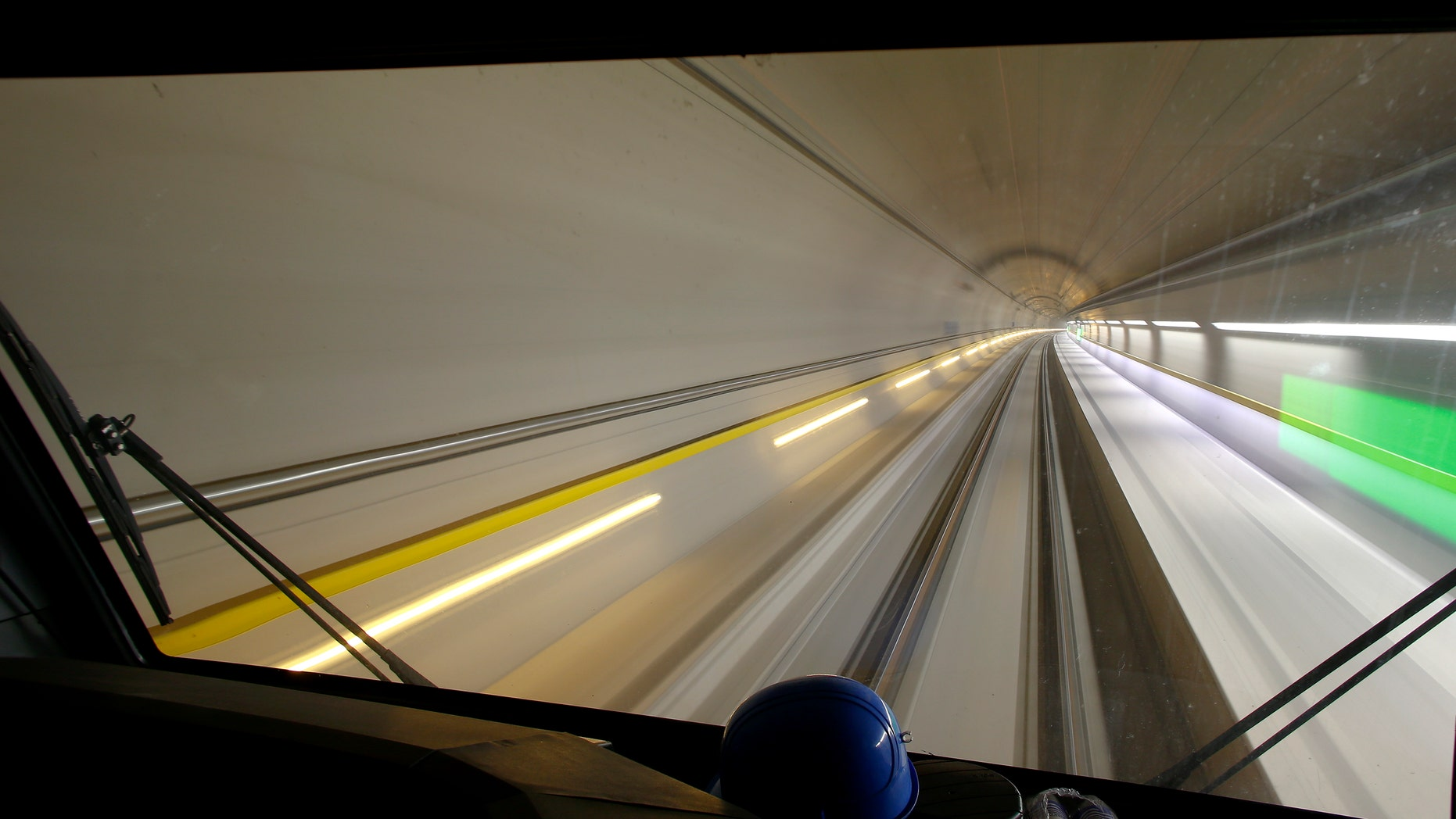 A longtime exposure from the driver's cabin shows the NEAT Gotthard Base Tunnel during a media visit, near the town of Sedrun, Switzerland March 10, 2016.