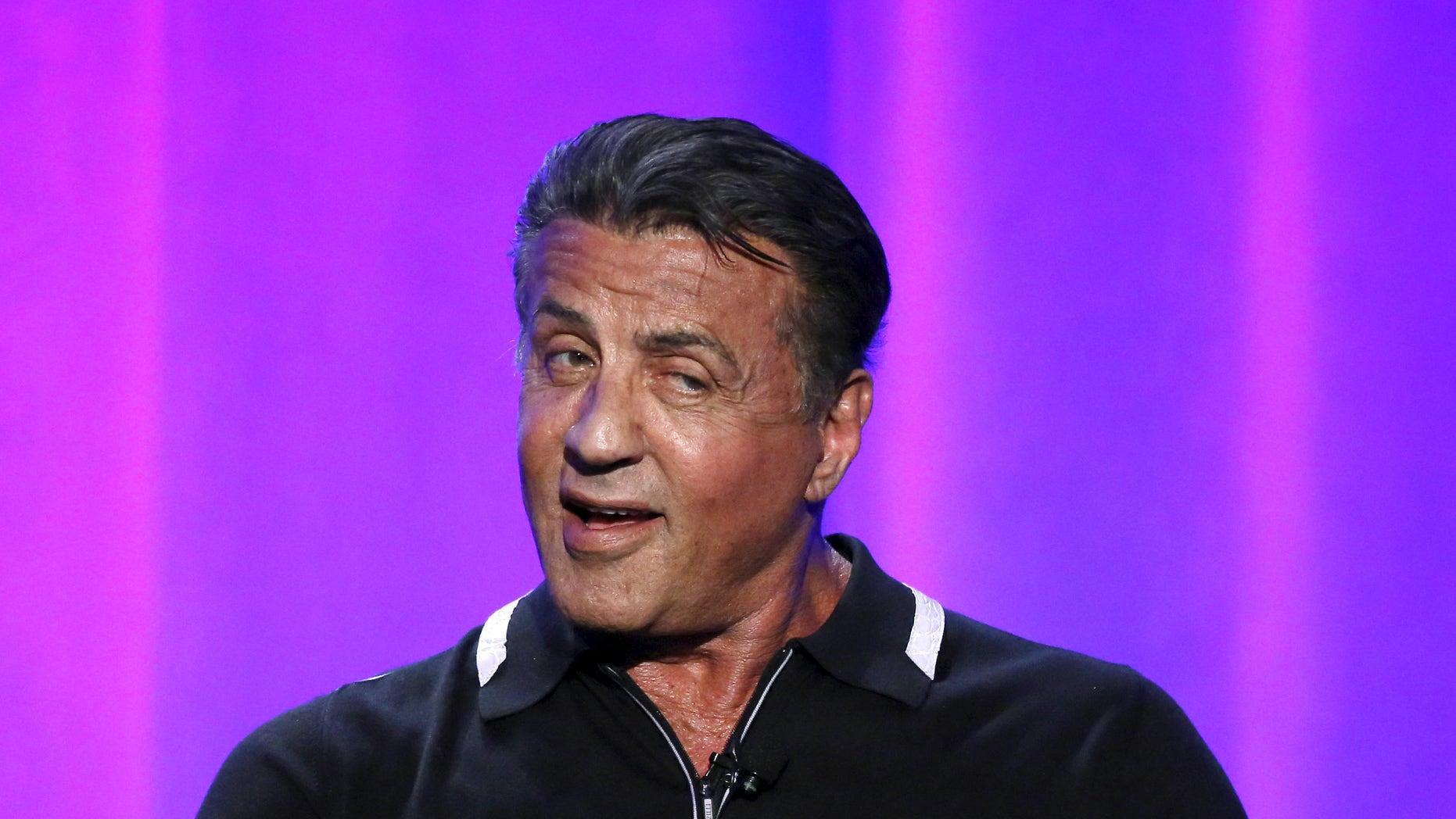 "Executive producer Sylvester Stallone speaks at a panel for the television show ""S.T.R.O.N.G."" during the NBCUniversal summer press day in Westlake Village, California April 1, 2016.    REUTERS/Mario Anzuoni - RTSD7WB"