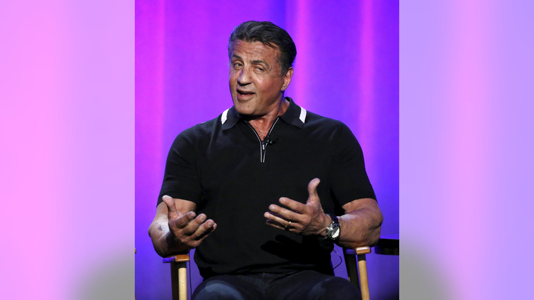 """Executive producer Sylvester Stallone speaks at a panel for the television show """"S.T.R.O.N.G."""" during the NBCUniversal summer press day in Westlake Village, California April 1, 2016.    REUTERS/Mario Anzuoni - RTSD7WB"""