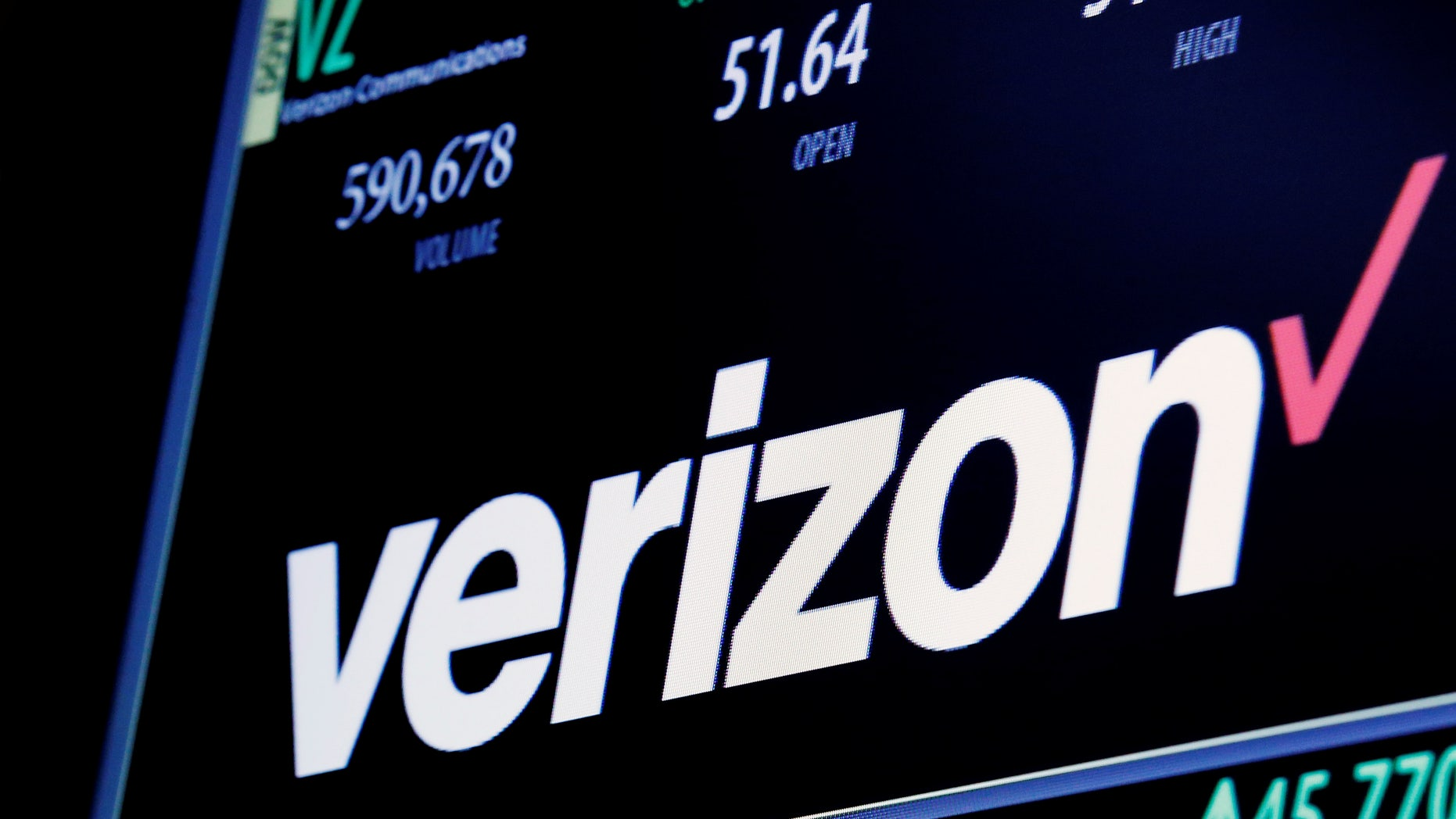 The ticker and trading information for Verizon is displayed on June 9, 2016.