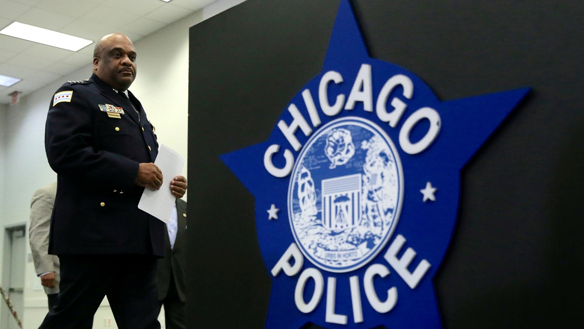 Chicago Police Superintendent Eddie Johnson arrives at a news conference announcing the department's plan to hire nearly 1,000 new police officers in Chicago, Sept. 21, 2016.