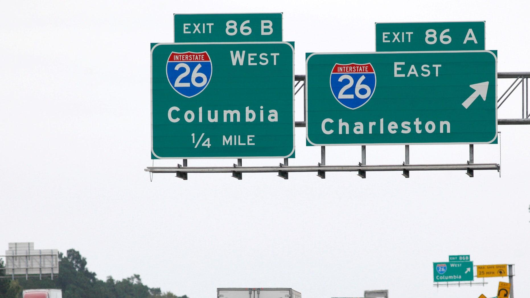 Interstate 95 outside Charleston as people along the coast evacuate ahead of Hurricane Matthew.