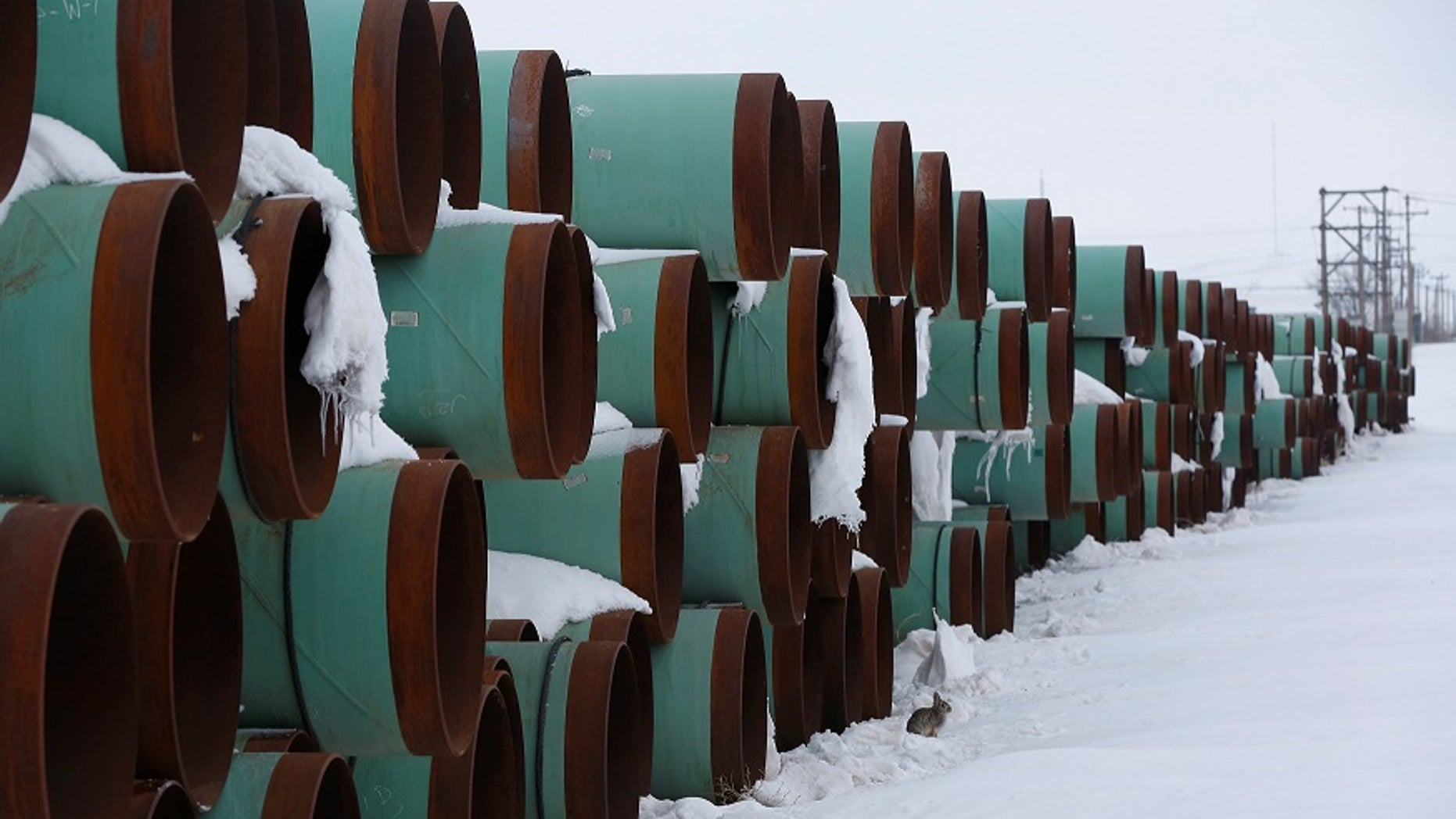 In Gascoyne, North Dakota, there is a storage depot for Transcanada Corp's planned Keystone XL pipeline.