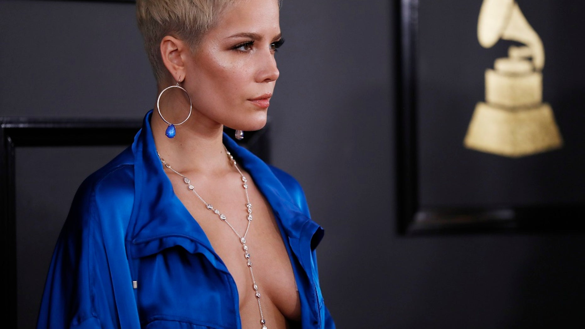 Singer Halsey arrives at the 59th Annual Grammy Awards in Los Angeles.