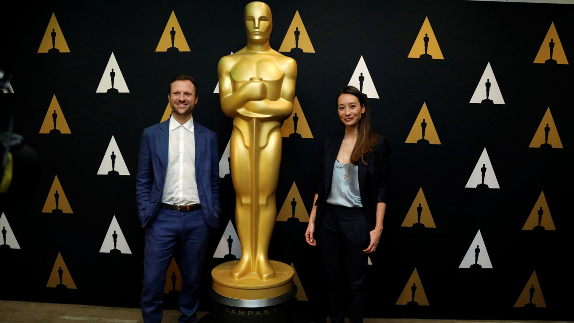 "Director Orlando von Einsiedel and producer Joanna Natasegara of ""The White Helmets,"" Academy Award nominee for Documentary (Short Subject), pose at a reception at the Academy of Motion Picture Arts and Sciences in Beverly Hills, California U.S., February 22, 2017."