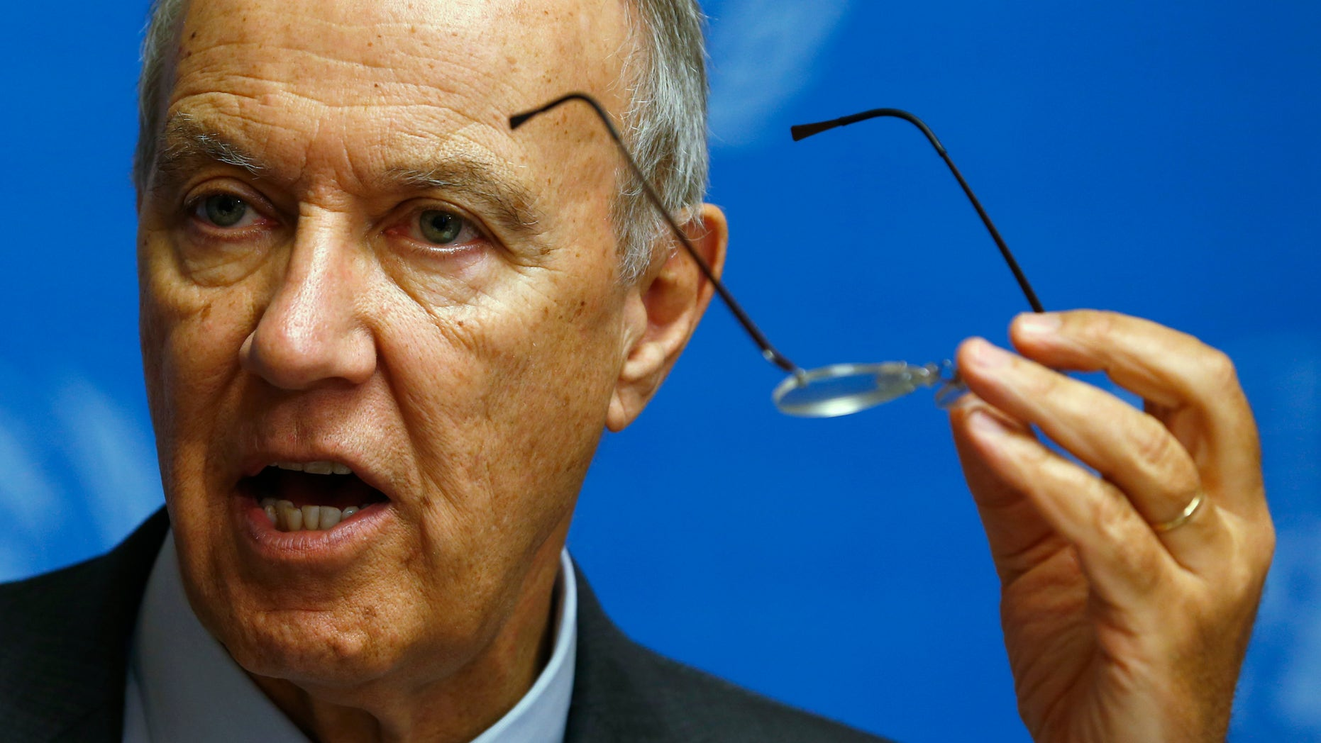 December 9, 2013: Director-General of World Intellectual Property Organization (WIPO) Francis Gurry addresses a news conference at the United Nations European headquarters in Geneva.