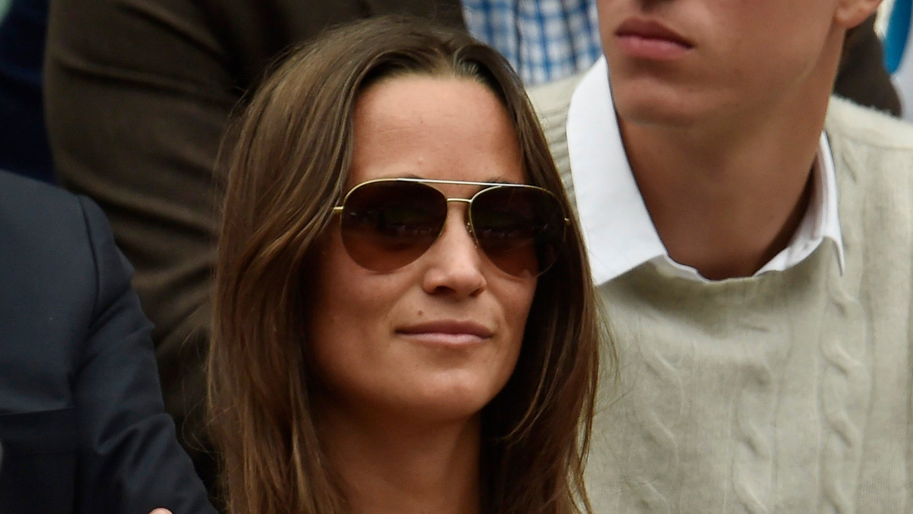 Pippa Middleton on Centre Court at the Wimbledon Tennis Championships in London, July 12, 2015.                                                       REUTERS/Toby Melville  - RTX1K3MD