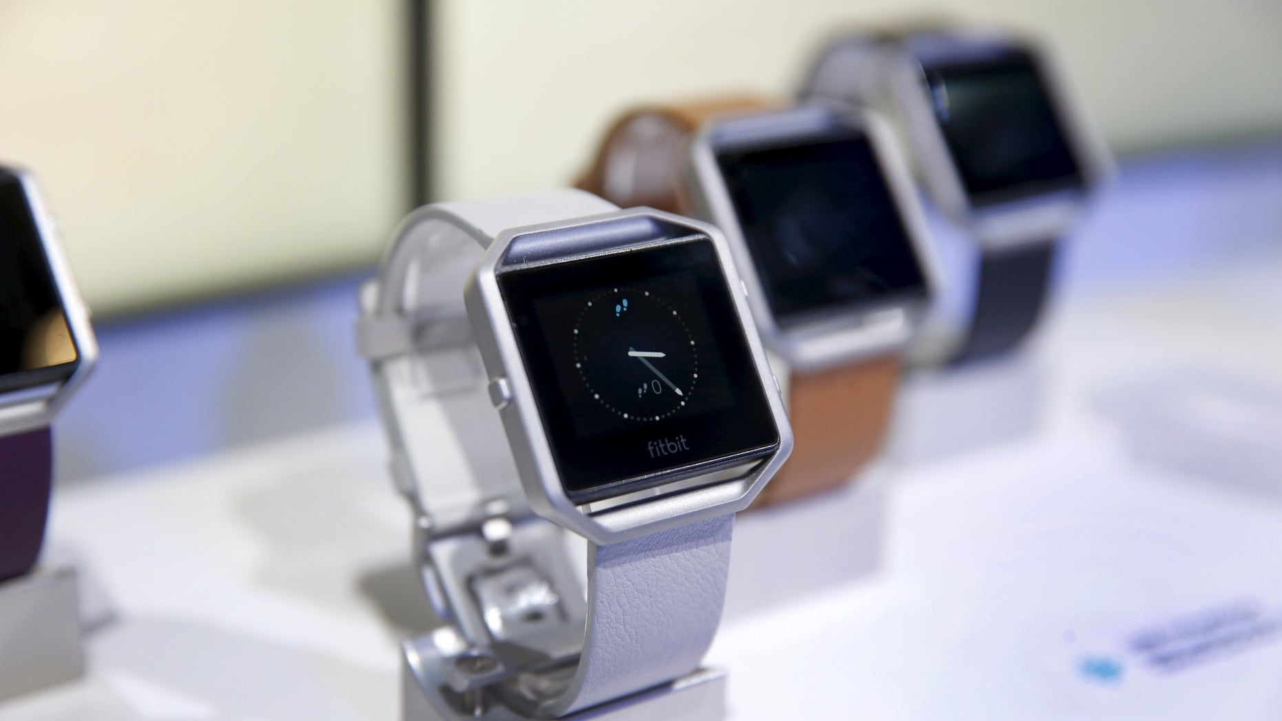 File photo: Fitbit Blaze watches are displayed during the 2016 CES trade show in Las Vegas, Nevada January 6, 2016. (REUTERS/Steve Marcus)