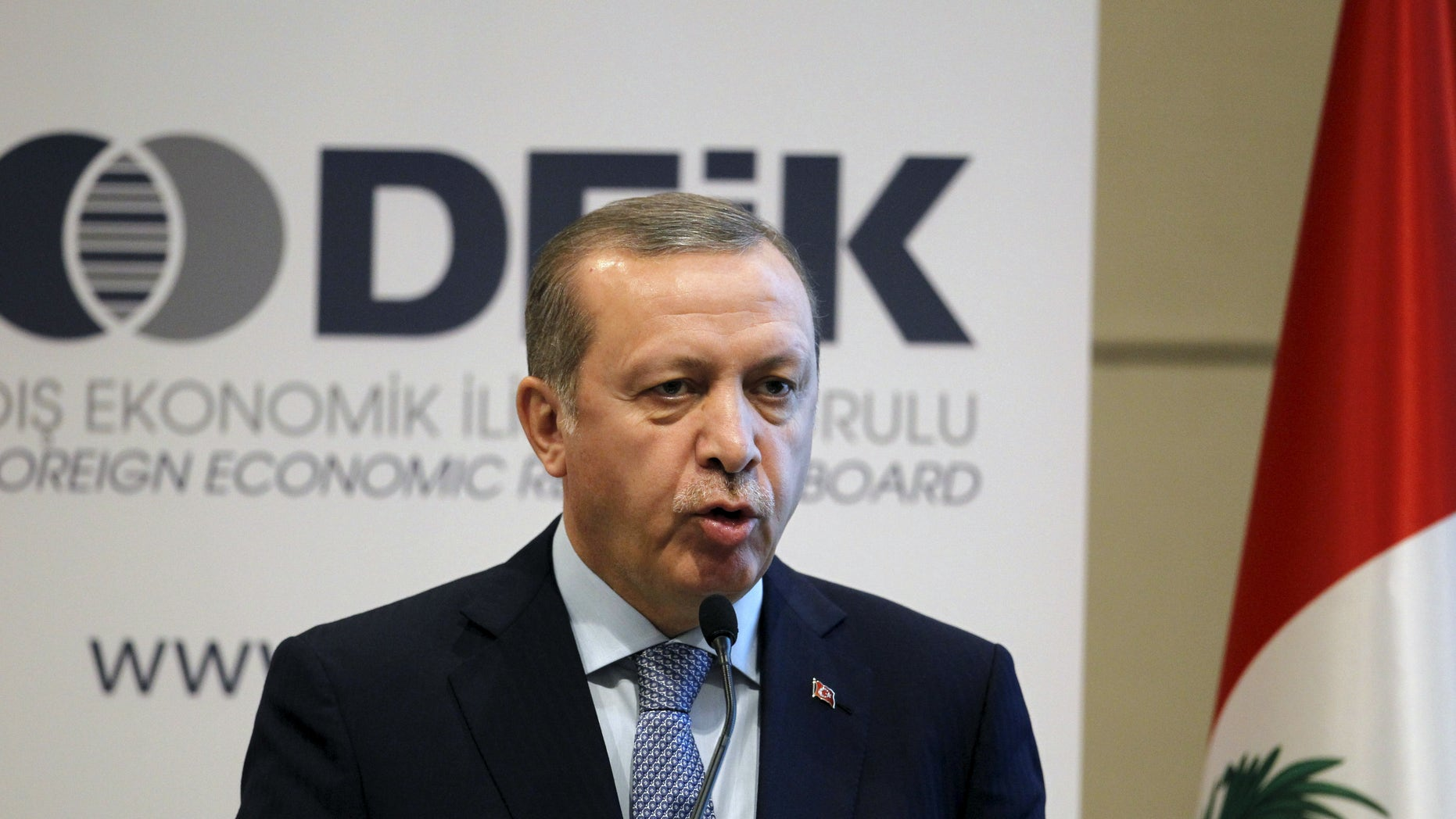 Feb. 3, 2016: Turkish President Tayyip Erdogan talks at a business forum during a visit in Lima, Peru.(Reuters)