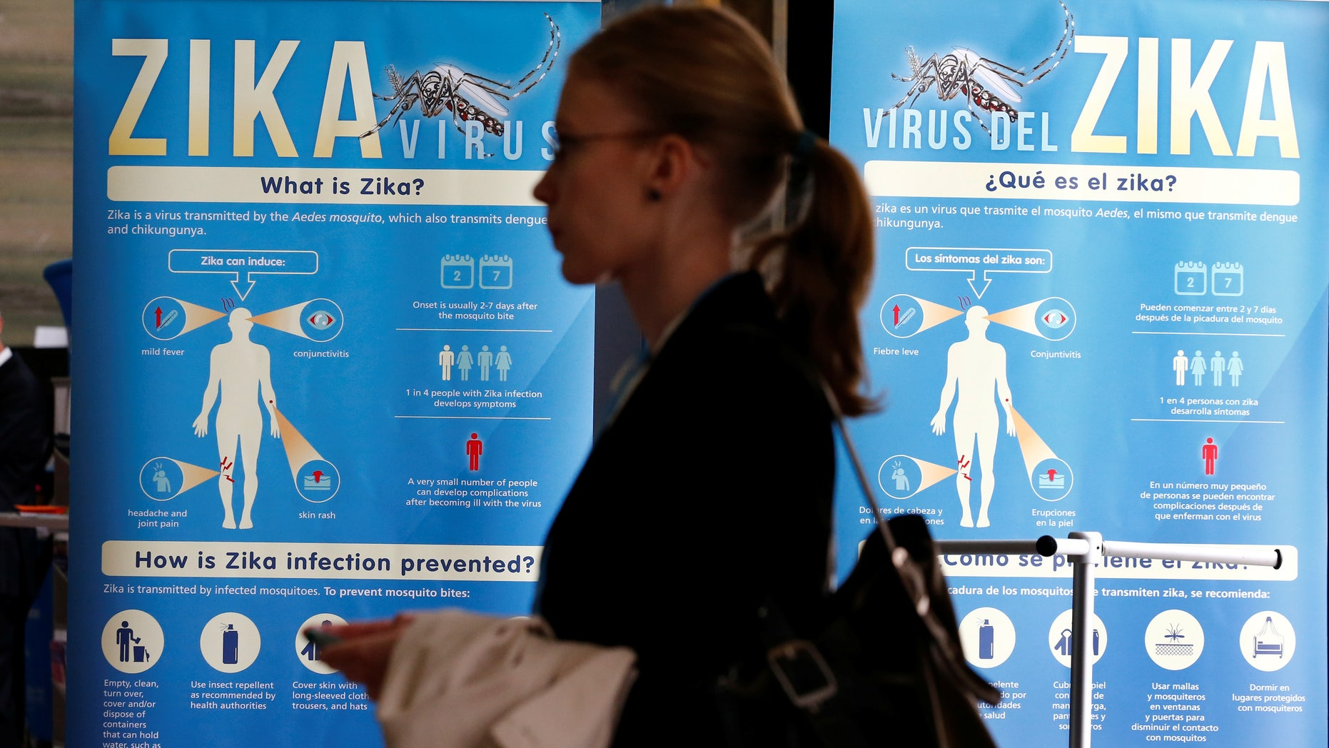 Material to prevent Zika infection by mosquitoes are displayed at the 69th World Health Assembly at the United Nations European headquarters in Geneva, Switzerland, May 23, 2016. REUTERS/Denis Balibouse  - RTX2ECWZ