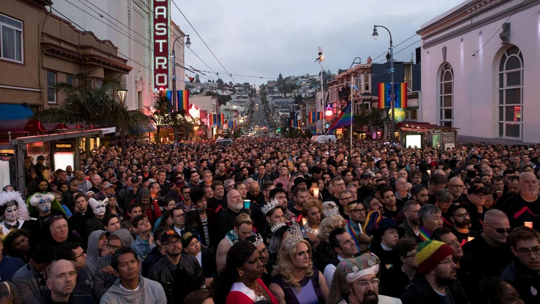 People gather in San Francisco's Castro District for a vigil for the victims of the Orlando attack on June 12