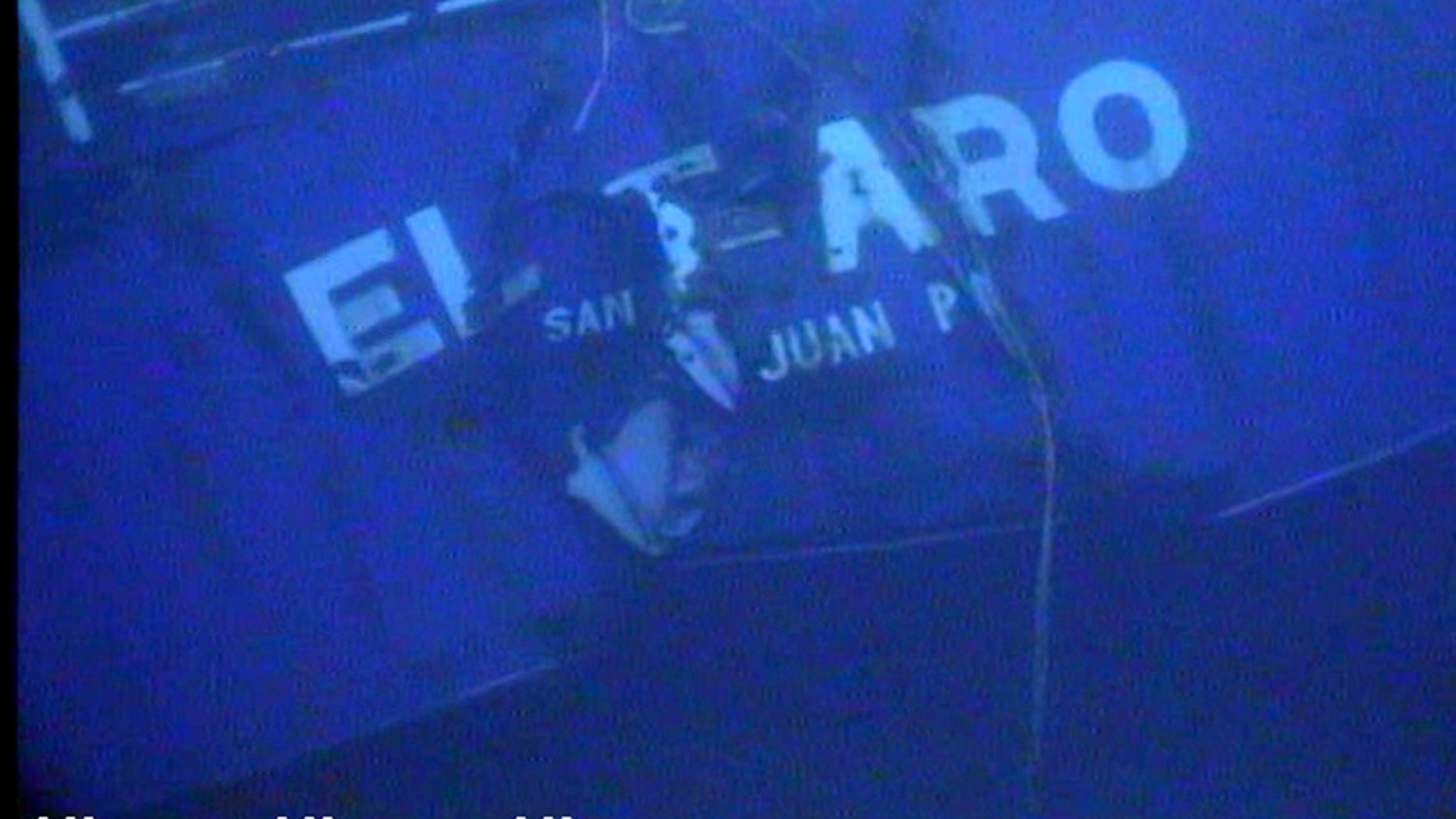 The stern of the El Faro is shown on the ocean floor taken from an underwater video camera on November 1, 2015. (Courtesy National Transportation Safety Board/Handout)