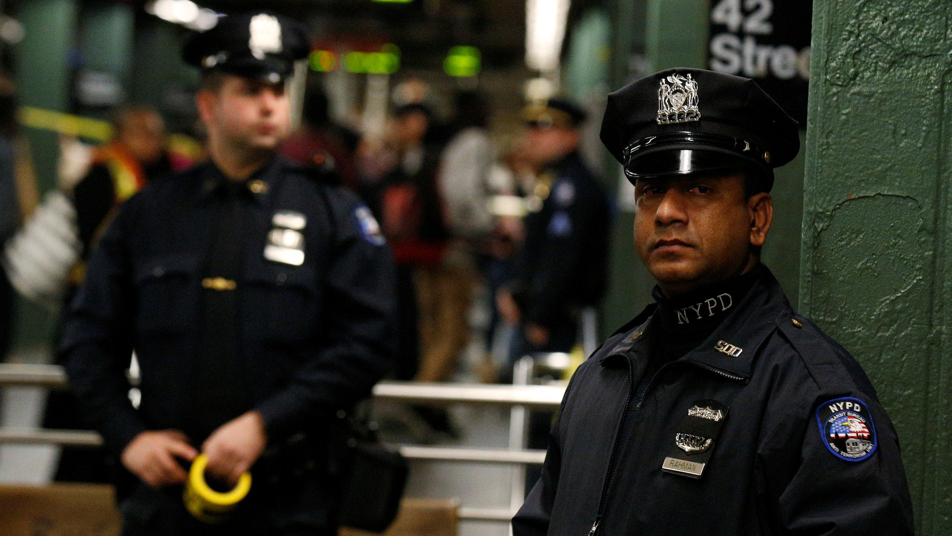 New York City police at the subway station in Times Square on Monday.