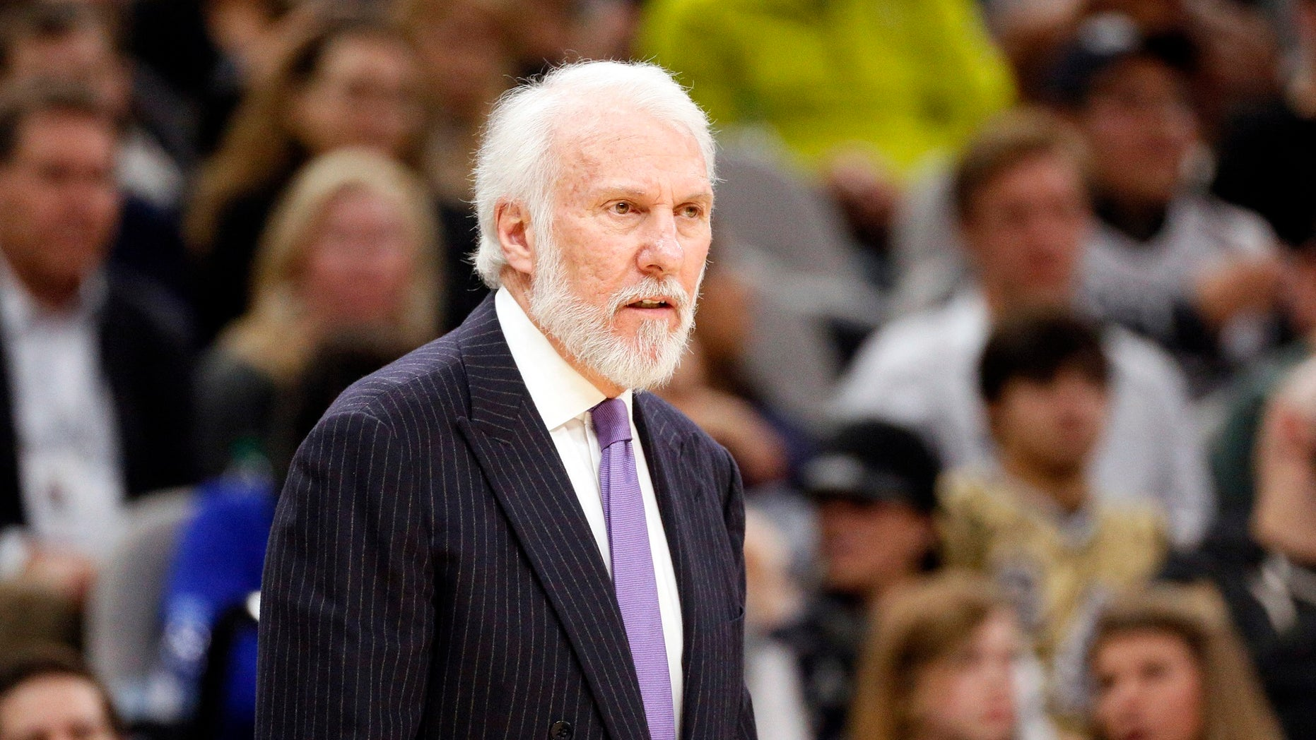 "San Antonio Spurs coach, Gregg Popovich, said the United States ""is an embarrassment to the world"" after President Trump's recent fights with professional sports teams."