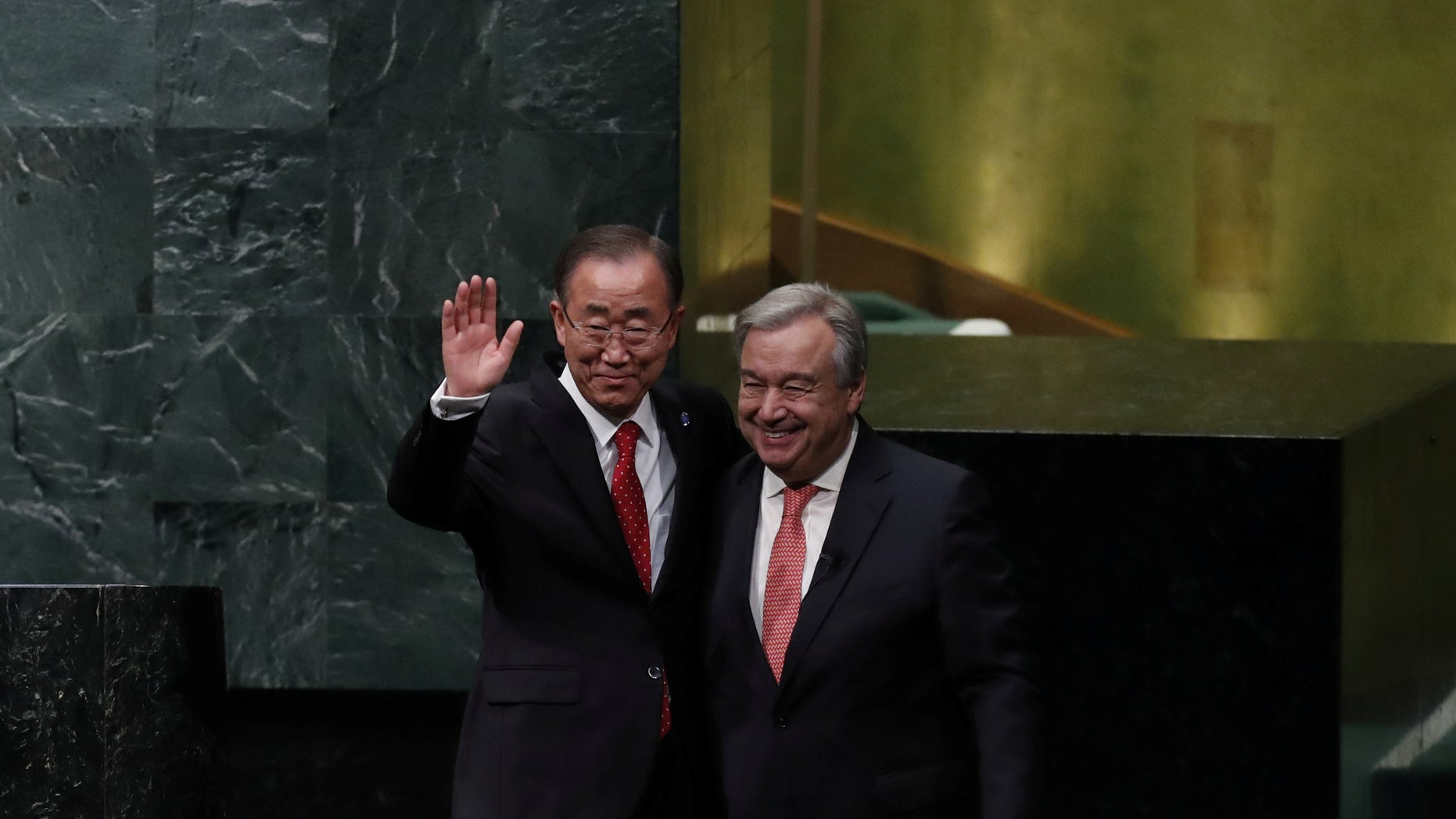 Outgoing United Nations Secretary-General Ban Ki-moon, left, with Antonio Guterres after the swearing-in ceremony.