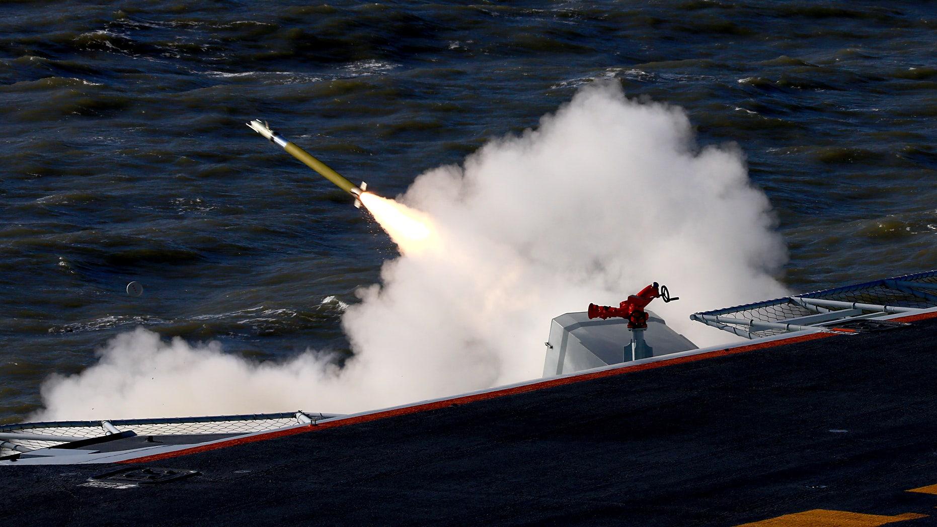 The live-fire drill in the Bohai Sea.