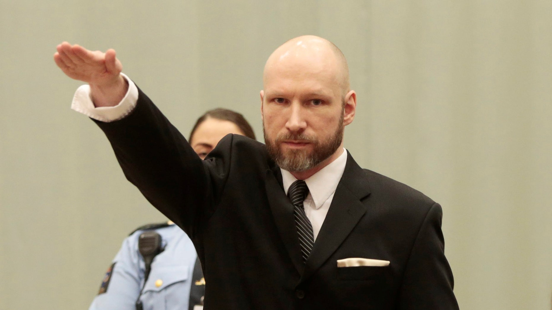 Anders Behring Breivik in court.