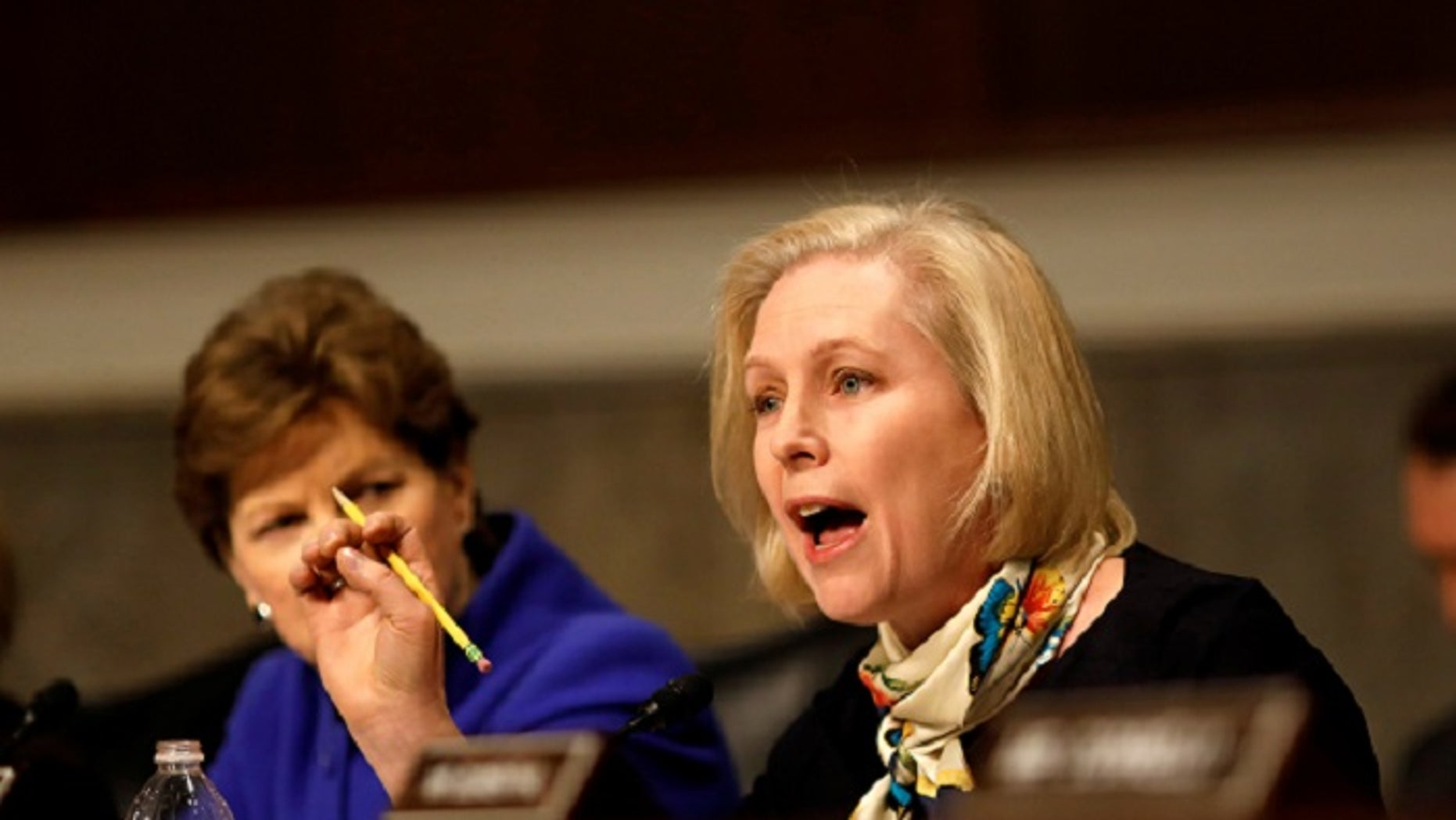 FILE -- Senator Kristen Gillibrand (D-NY) asks a question during a Senate Armed Services Committee hearing on the Marines United Facebook page on Capitol Hill in Washington, D.C., U.S. March 14, 2017.