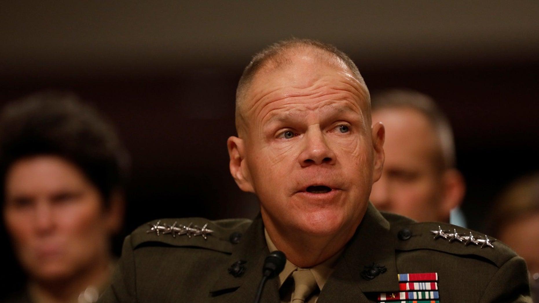 Gen. Robert Neller, commandant of the U.S. Marine Corps, testifies on Capitol Hill, March 14, 2017.