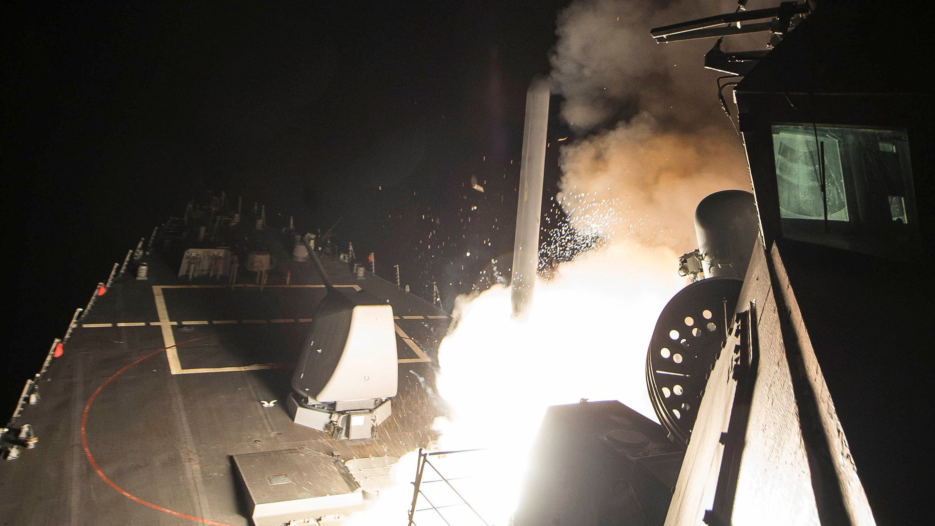 April 7, 2017: U.S. Navy guided-missile destroyer USS Ross (DDG 71) fires a tomahawk land attack missile in Mediterranean Sea.