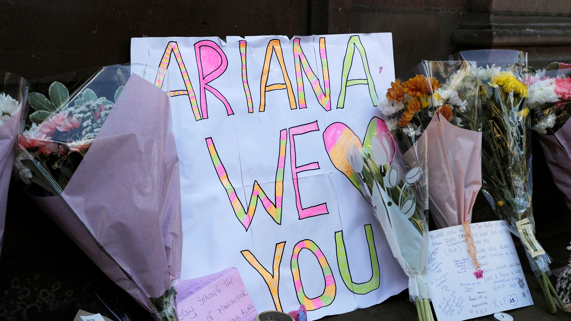 Fans made signs praising Grande after the Manchester explosion in May, 2017.