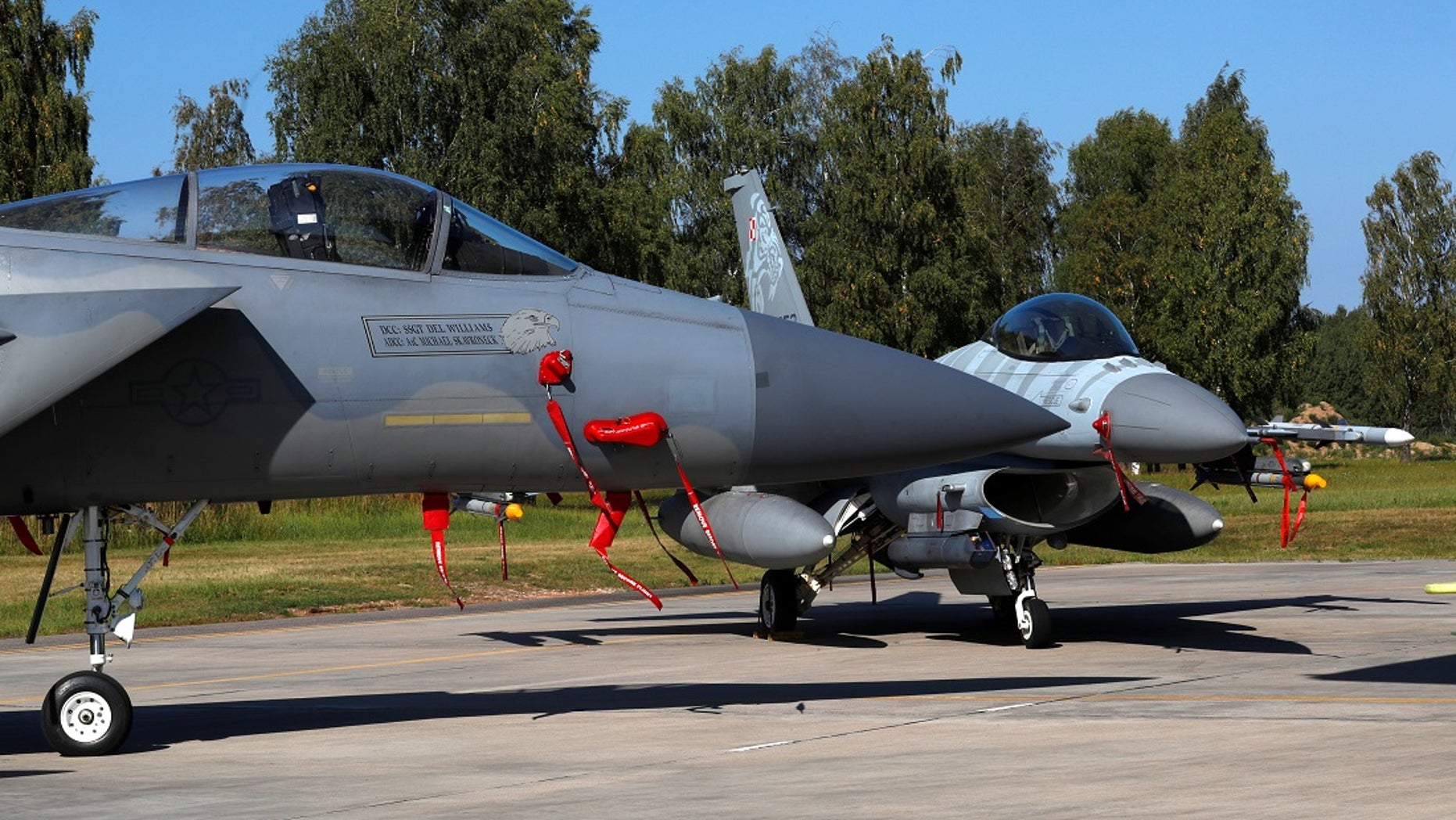 U.S. Air Force F-15C Eagle fighter and Polish Air Force F-16 fighter are seen during a NATO Baltic air policing mission in Lithuania.