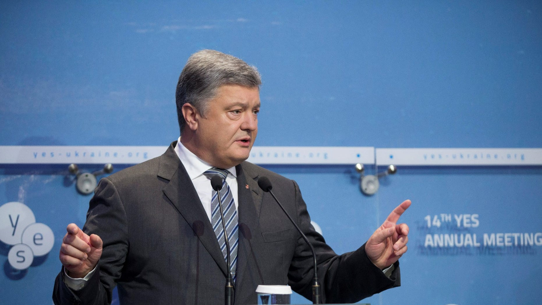 Ukrainian President Petro Poroshenko delivers a speech at the opening of the annual Yalta European Strategy (YES) conference in Kiev, Ukraine September 15, 2017.