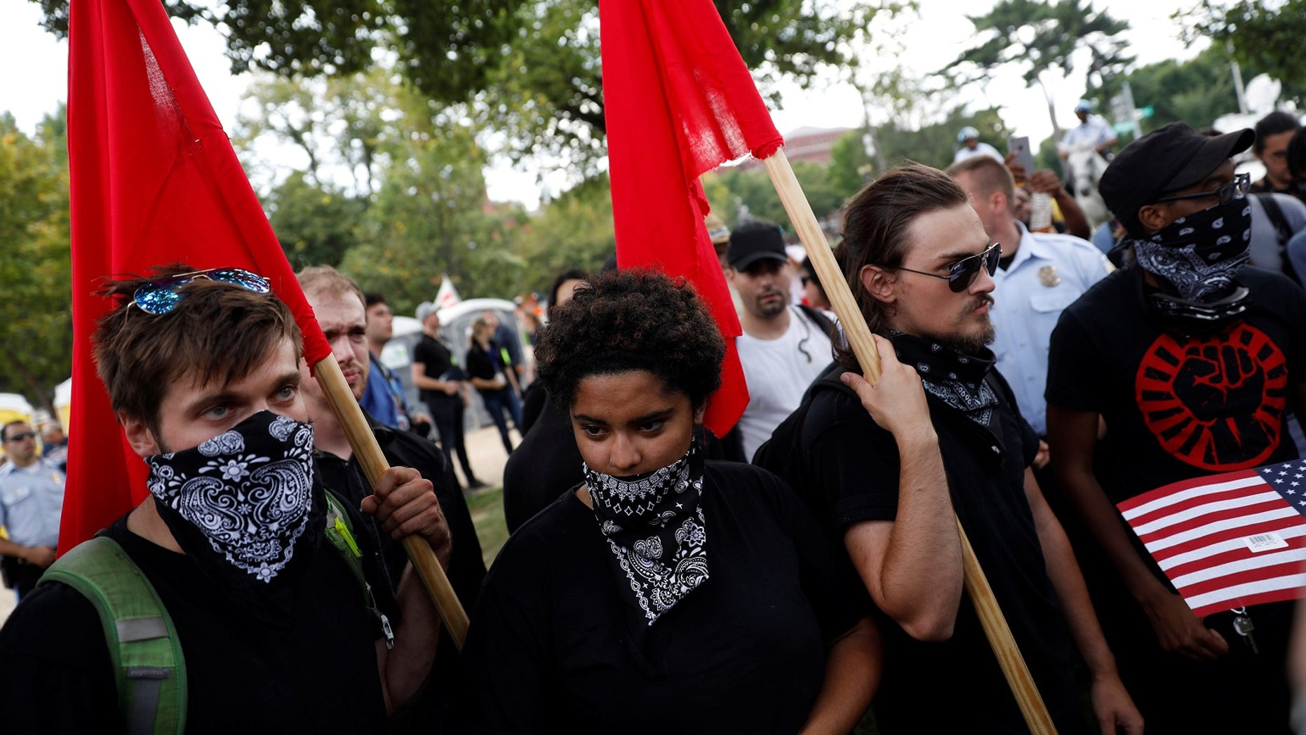 Antifa supporters participate in a protest on the National Mall in Washington, D.C.