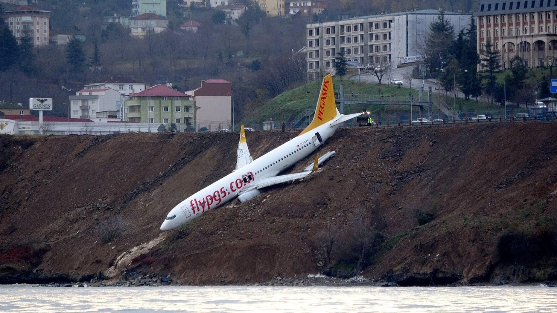 A Pegasus Airlines passenger plane skidded off the runway at Trabzon airport near the Black Sea.