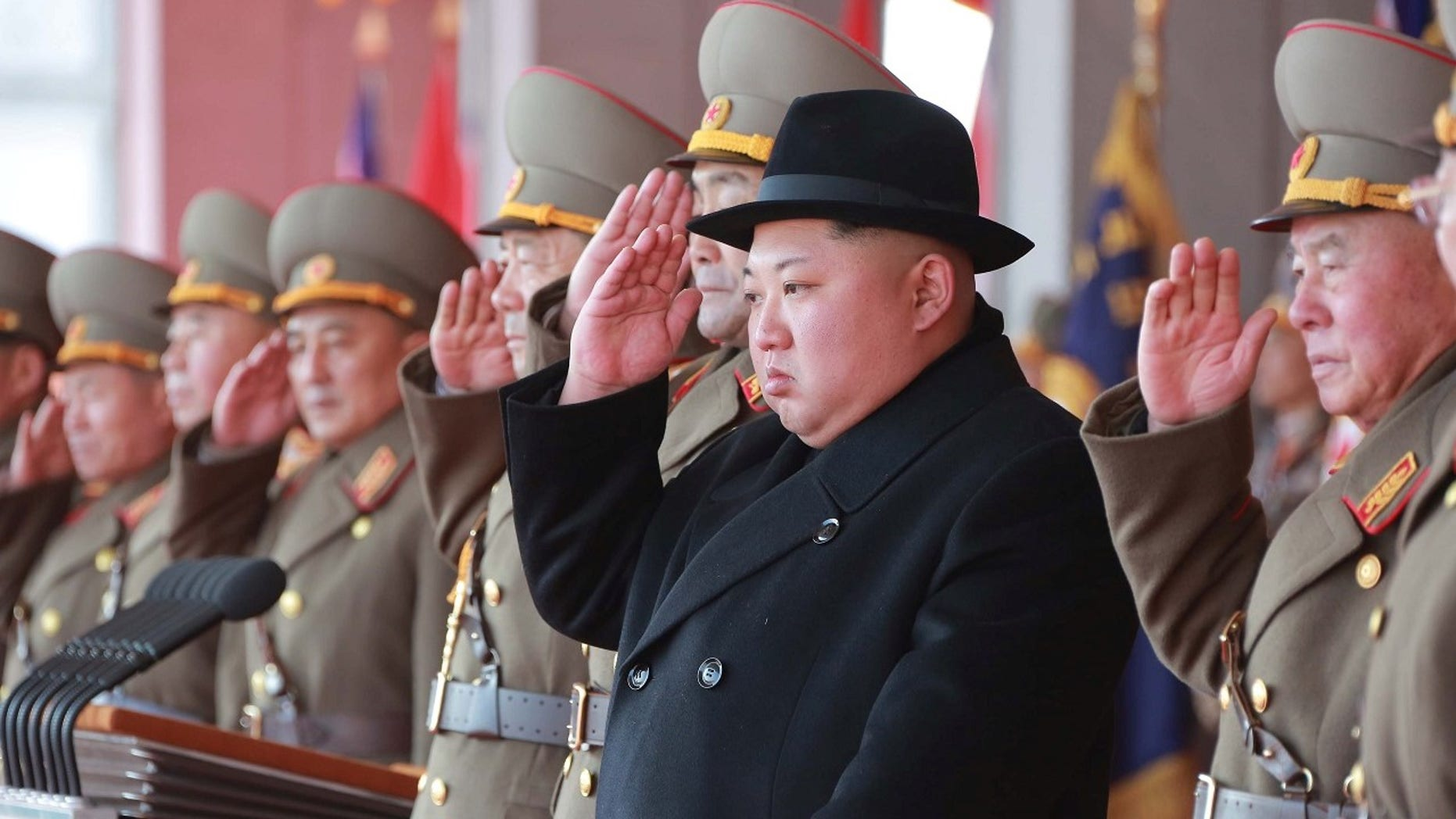 North Korean leader Kim Jong Un attends a grand military parade celebrating the 70th founding anniversary of the Korean People's Army at the Kim Il Sung Square in Pyongyang, in this photo released by North Korea's Korean Central News Agency (KCNA) February 9 2018. KCNA/via REUTERS  ATTENTION EDITORS - THIS PICTURE WAS PROVIDED BY A THIRD PARTY. REUTERS IS UNABLE TO INDEPENDENTLY VERIFY THE AUTHENTICITY, CONTENT, LOCATION OR DATE OF THIS IMAGE. NO THIRD PARTY SALES. NOT FOR USE BY REUTERS THIRD PARTY DISTRIBUTORS. SOUTH KOREA OUT. - RC160E43BE20