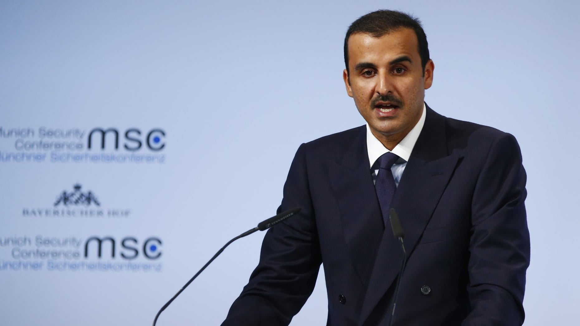 FILE -- Emir of Qatar Sheikh Tamim bin Hamad al-Thani talks at the Munich Security Conference in Munich, Germany, February 16, 2018.