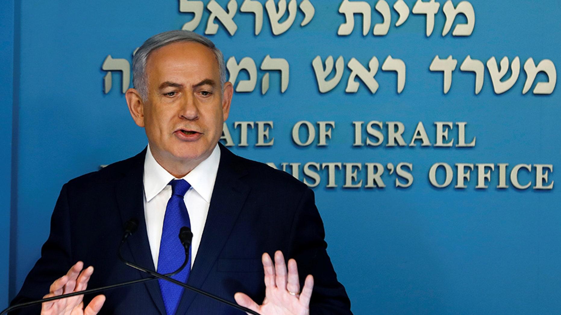 Israeli Prime Minister Benjamin Netanyahu speaks during a news conference in Jerusalem.