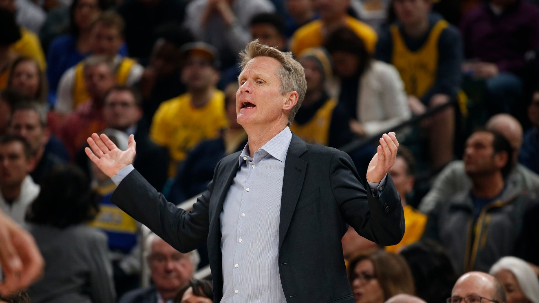 "Golden State Warriors coach Steve Kerr derided the NFL for it's ""fake patriotism"" and ""idiotic"" new rule requiring players and personnel stand for the national anthem."