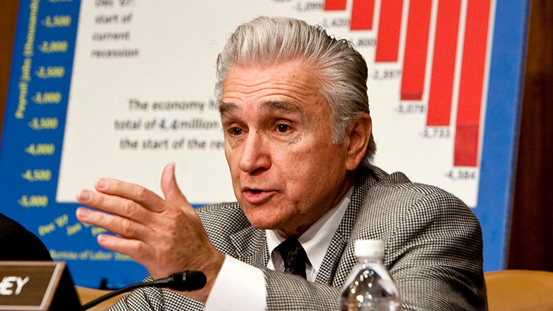 Maurice Hinchey (D-NY) questions Bureau of Labor Statistics Commissioner Keith Hall during a hearing by the Joint Economic Committee about the sharp rise in unemployment in Washington March 6, 2009.      REUTERS/Joshua Roberts    (UNITED STATES) - GF2E53618QV01