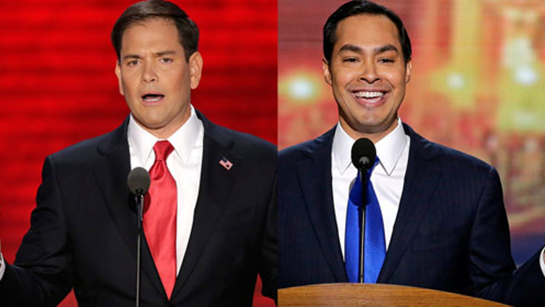 Sen. Marco Rubio (R-Fl) addresses the Republican National Convention (left) in Tampa, Fl and San Antonio Mayor Julian Castro addresses the Democratic National Convention in Charlotte, NC.