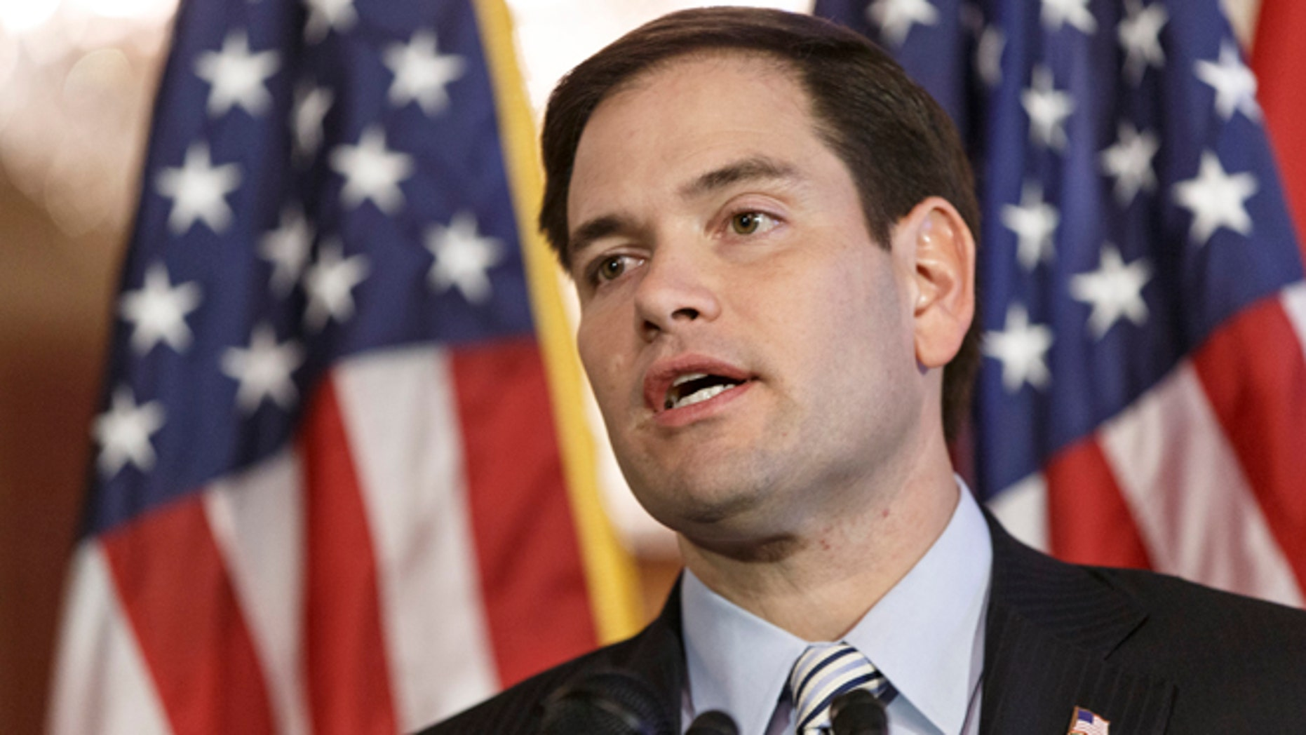 Jan. 8, 2014: Sen. Marco Rubio, R-Fla., speaks about the American dream on the 50th anniversary of President Lyndon Johnson's first State of the Union address in 1964, where LBJ committed the government to a war on poverty.