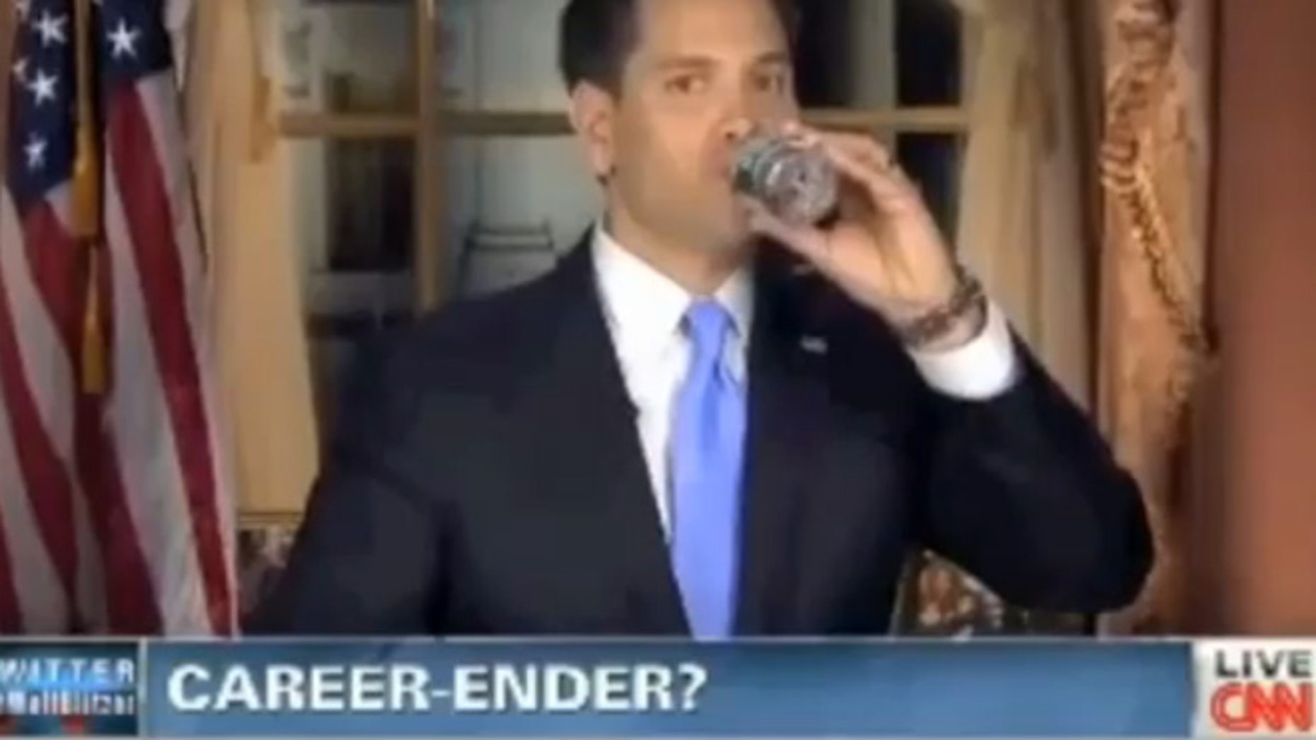 Shown here is a screen grab from CNN on Feb. 13, 2013, teasing a segment on Sen. Marco Rubio.